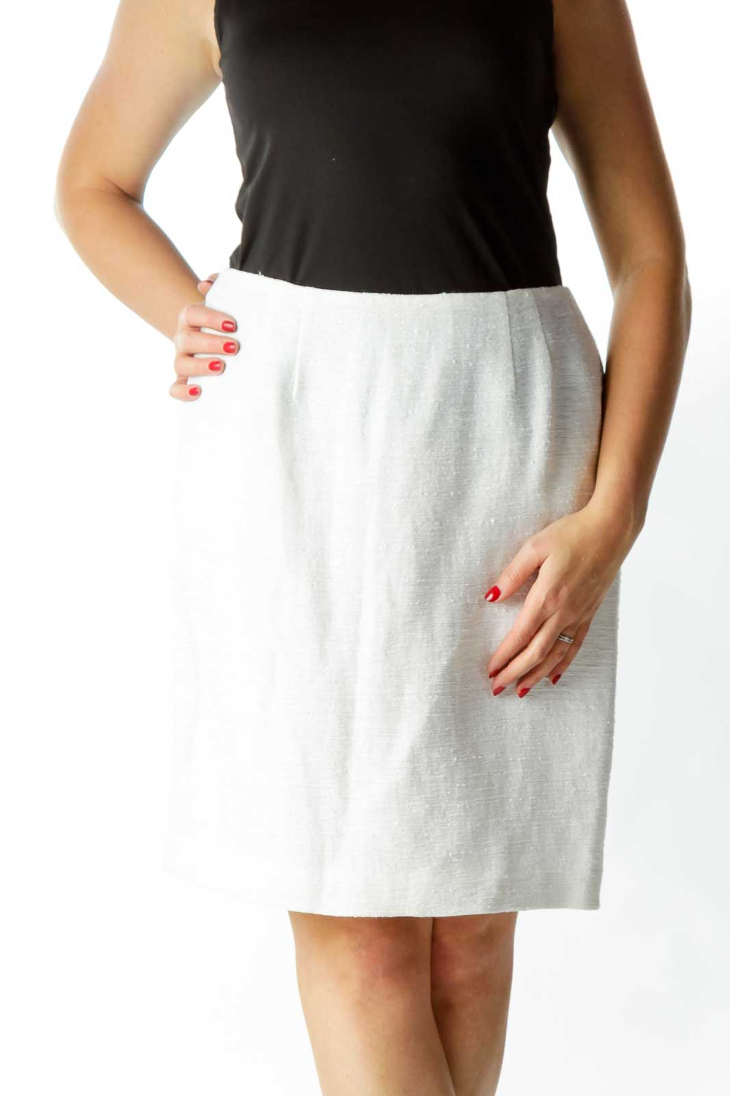 Cream Textured A-Line Skirt