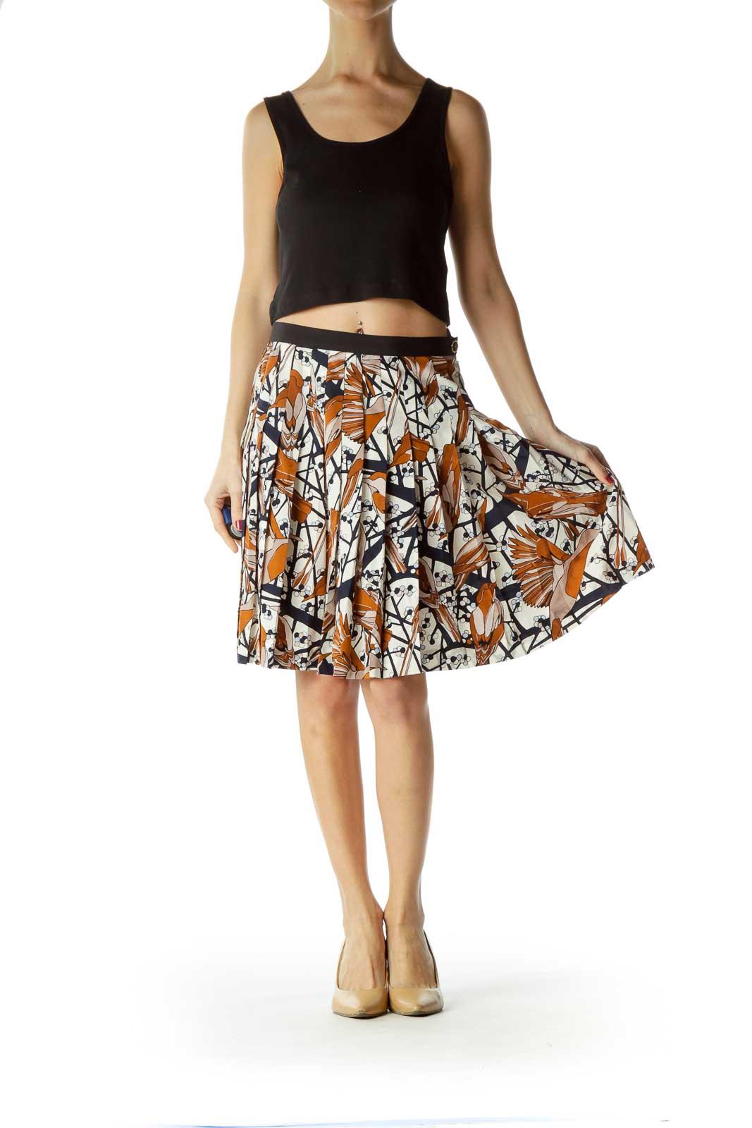 Multicolor 100% Silk Pleated Flared Skirt