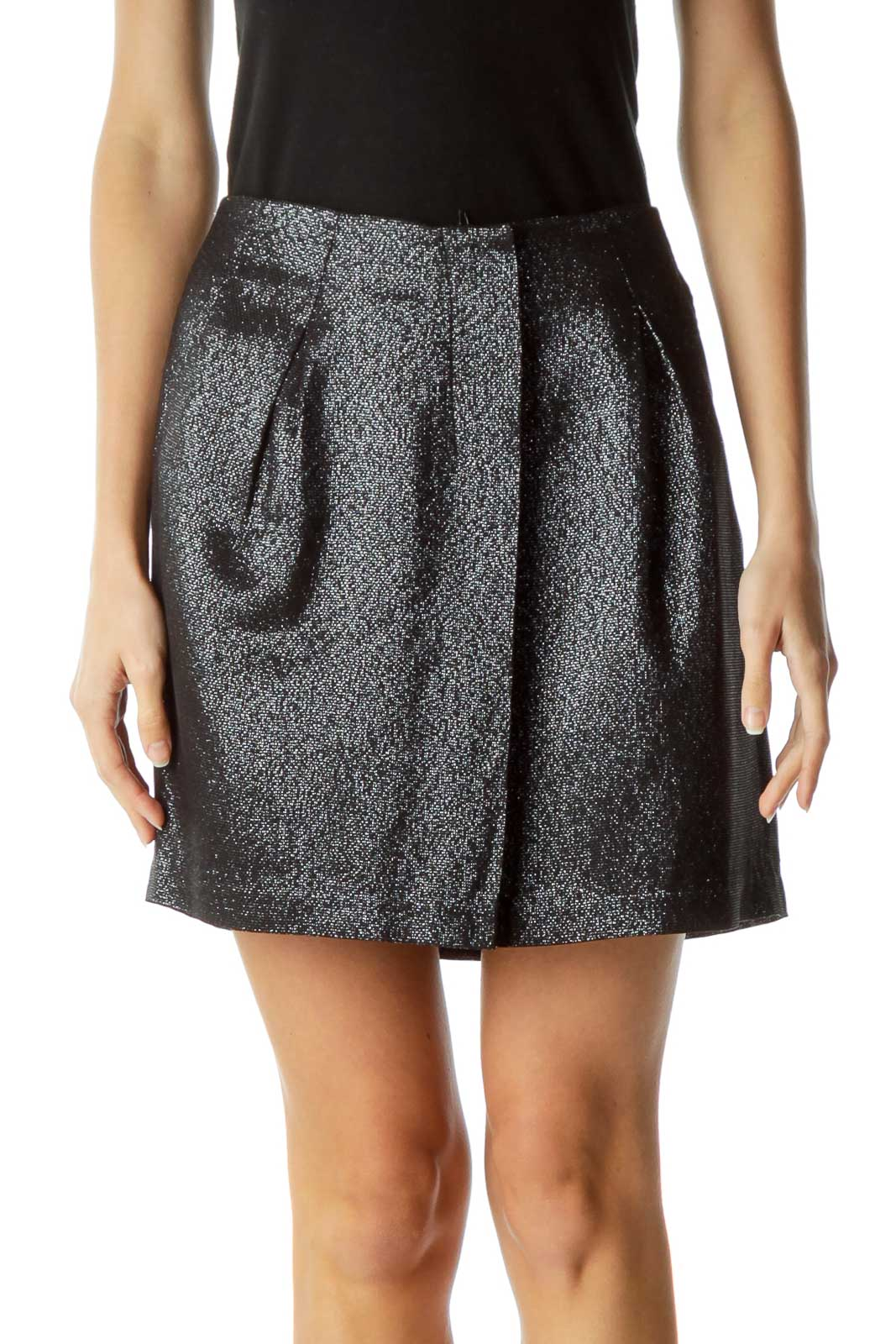 Black Metallic Pleated Skirt with Slip