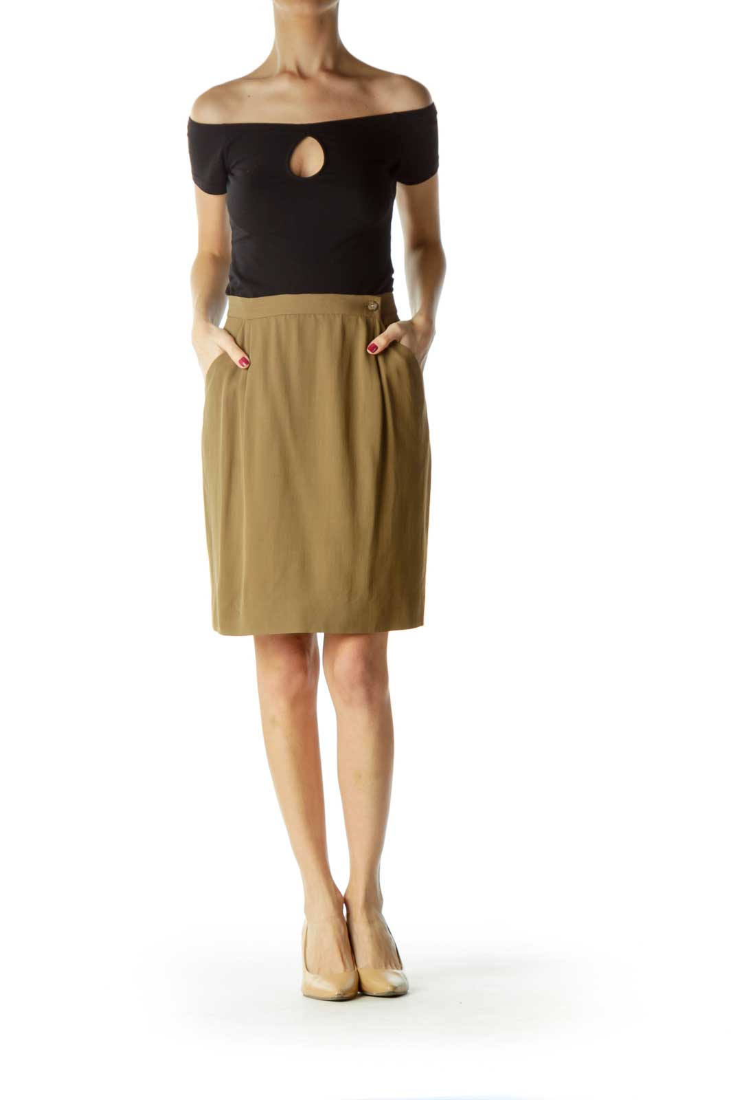 Brown Pocketed Side-Buttoned A-Line Skirt