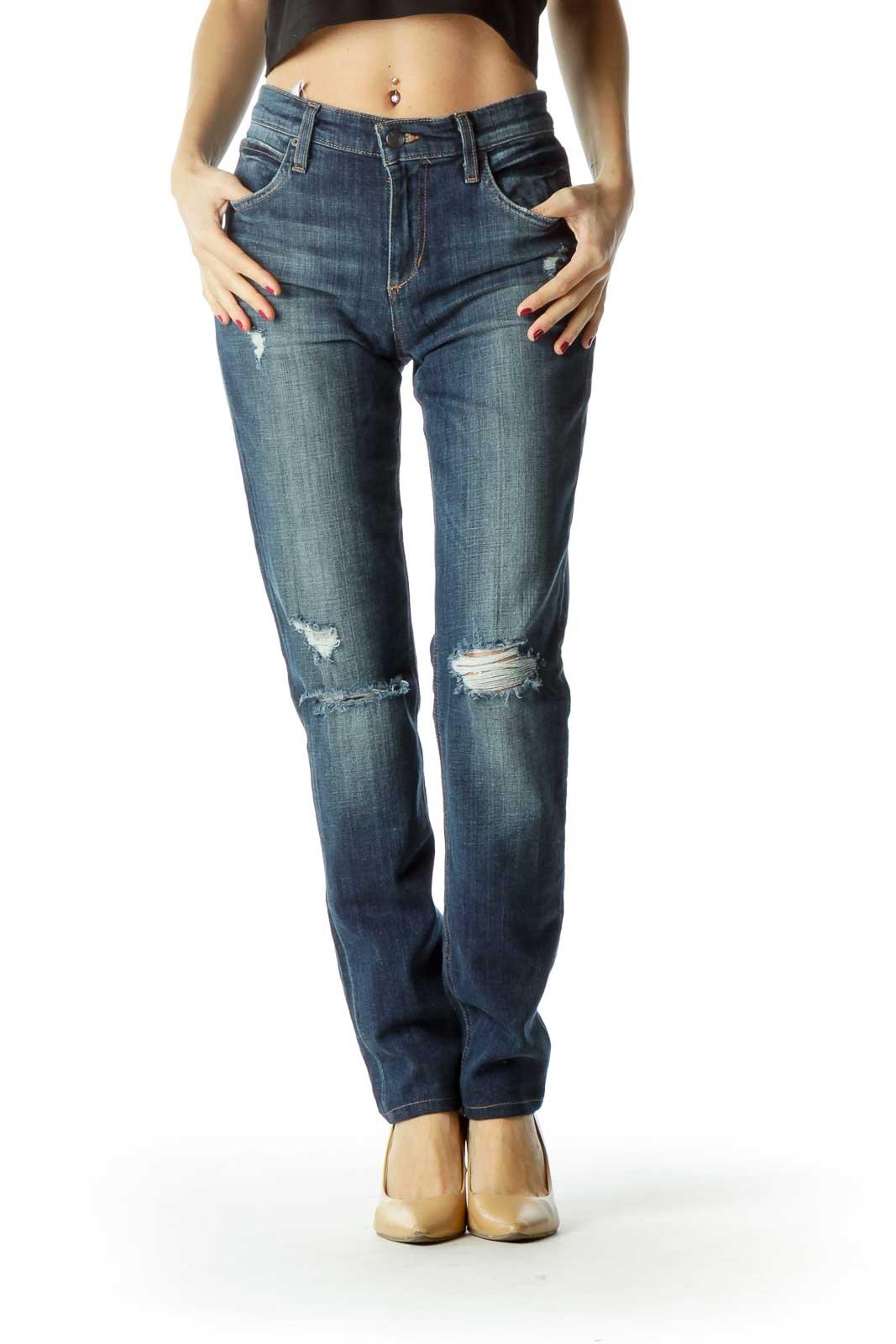 Blue Distressed Medium Wash Denim Pants