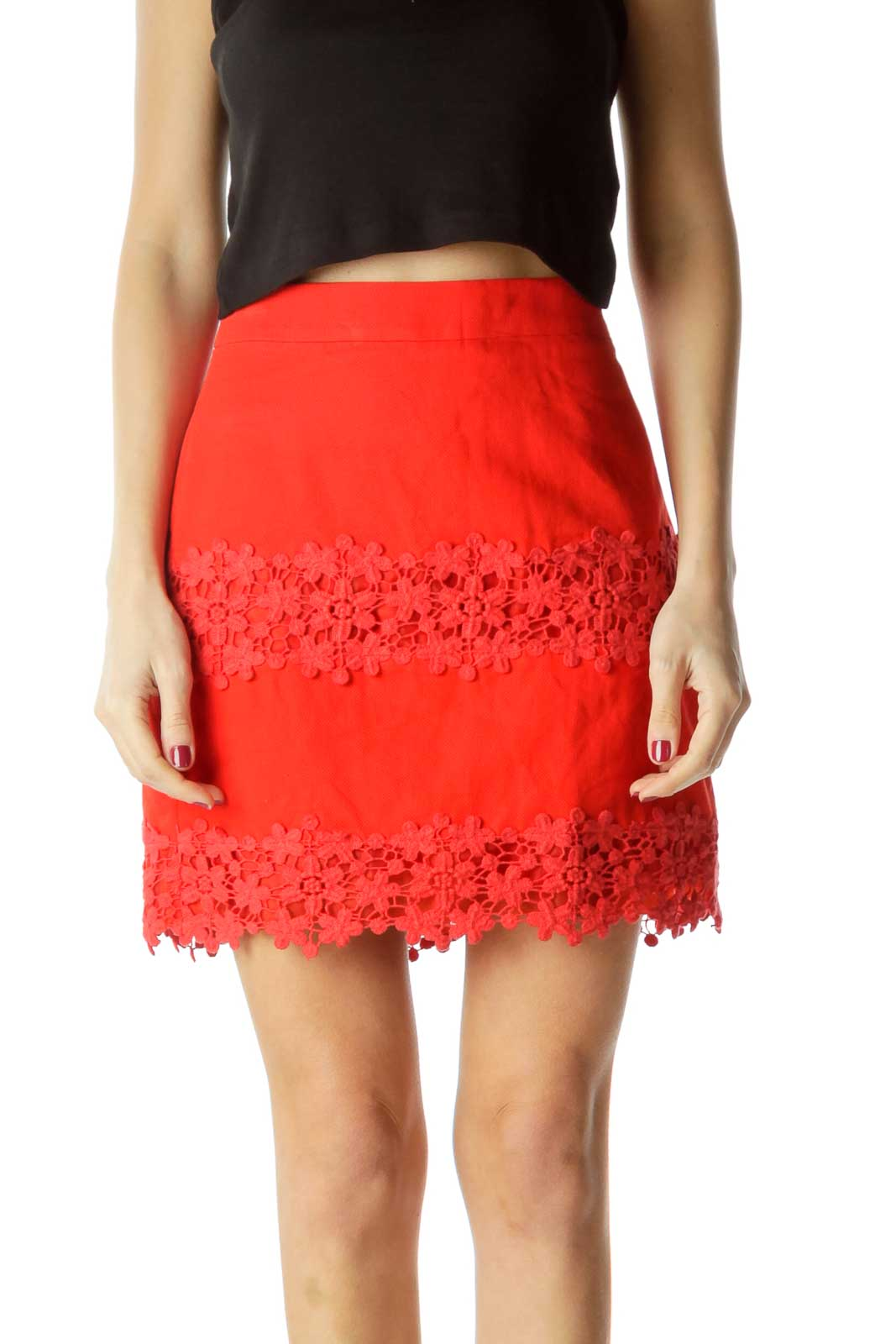 Red Floral Knitted Mini Skirt