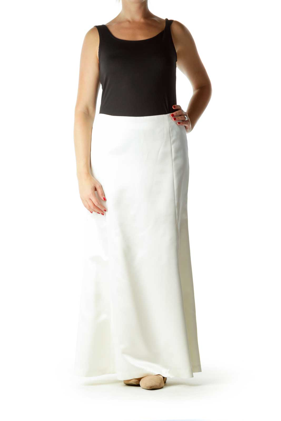 Cream Shiny Long Skirt with Slip