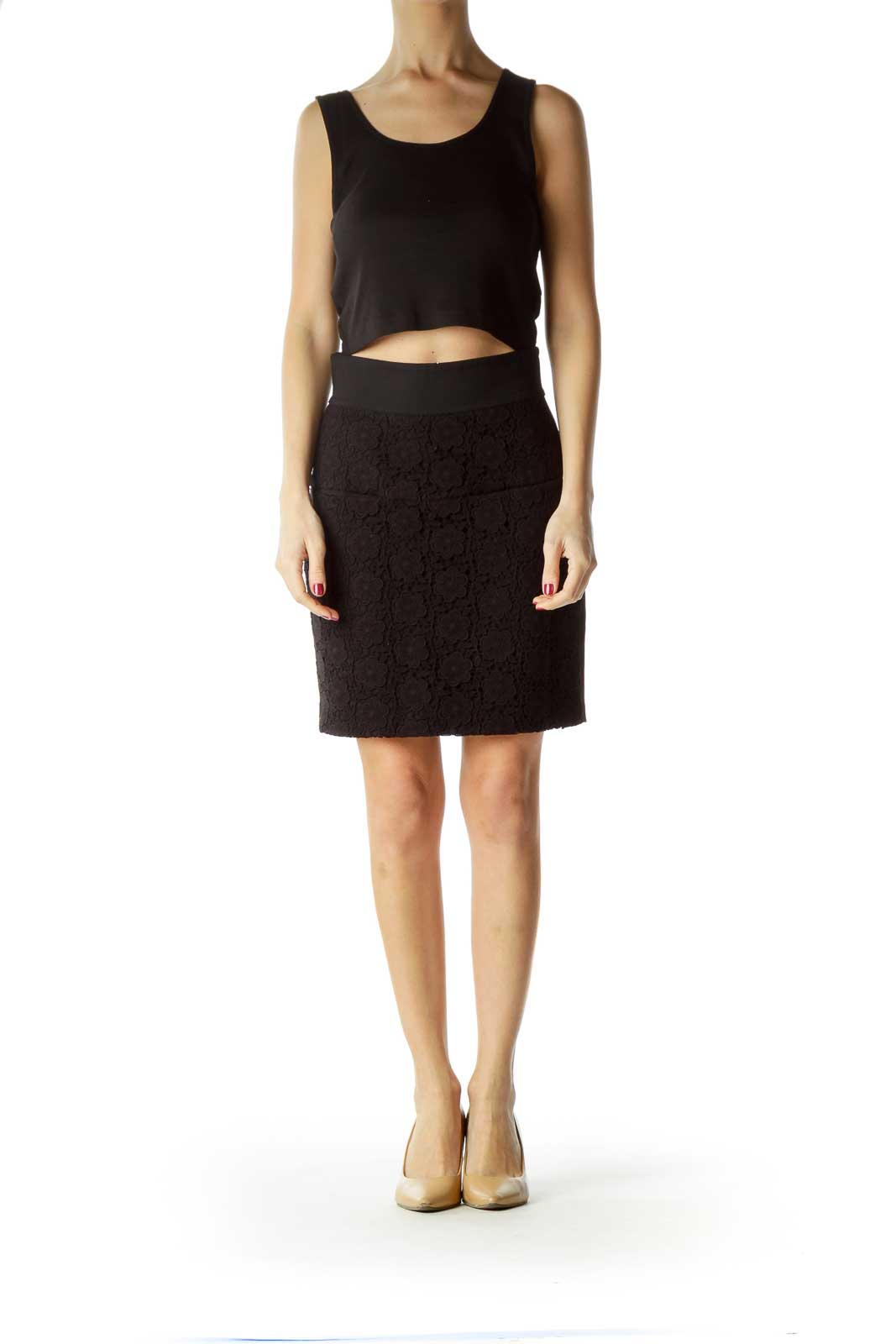 Black Flower Textured Front A-Line Skirt