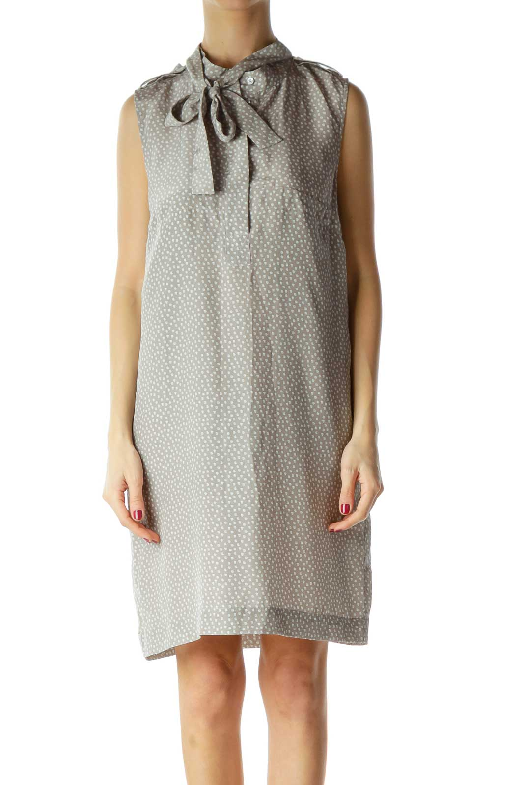 Gray Printed Silk Sleeveless Dress