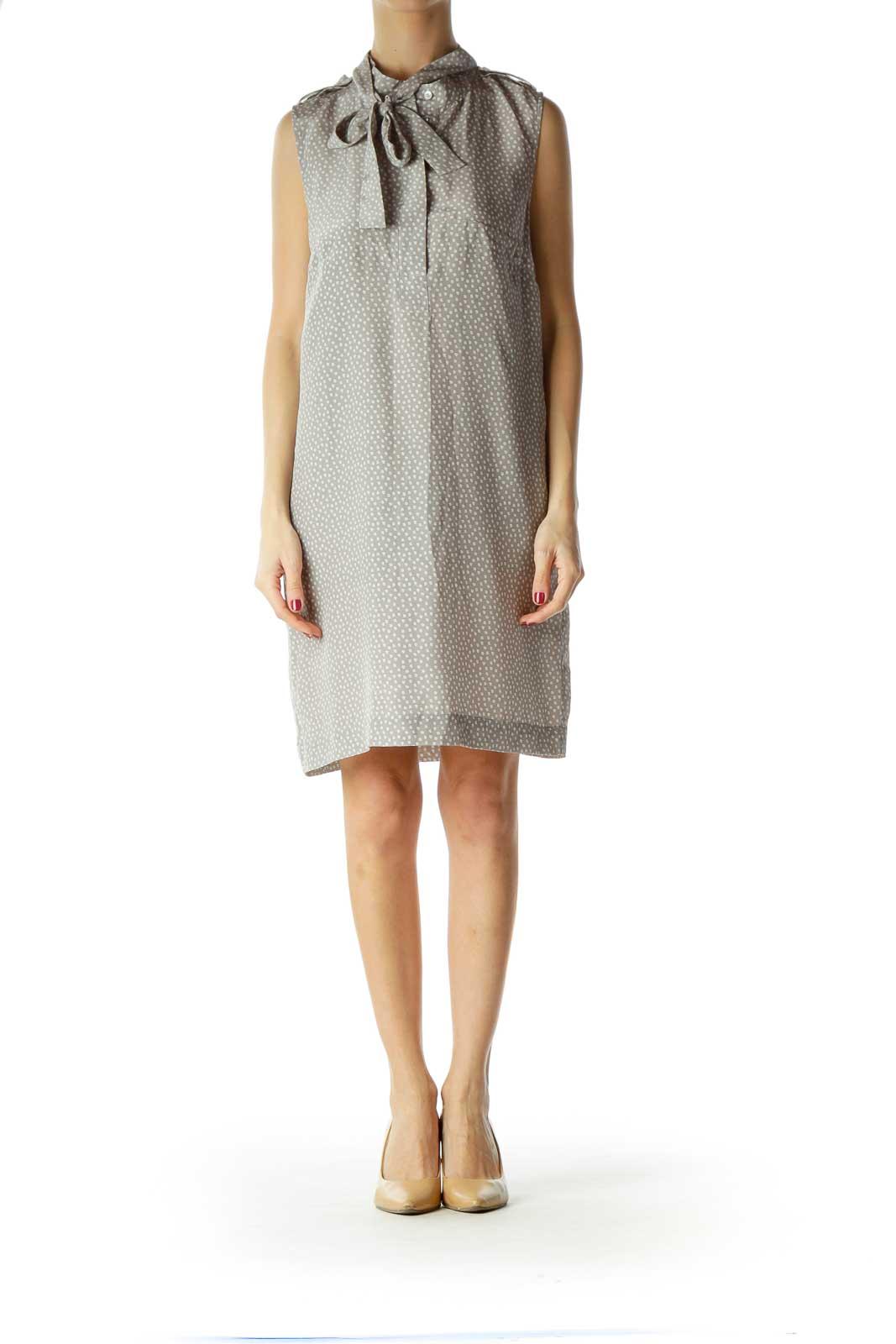 Gray Printed Silk Sleeveless Dress