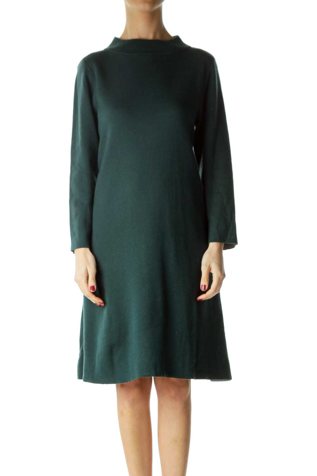 Green High Neck Long Sleeve Knit Dress