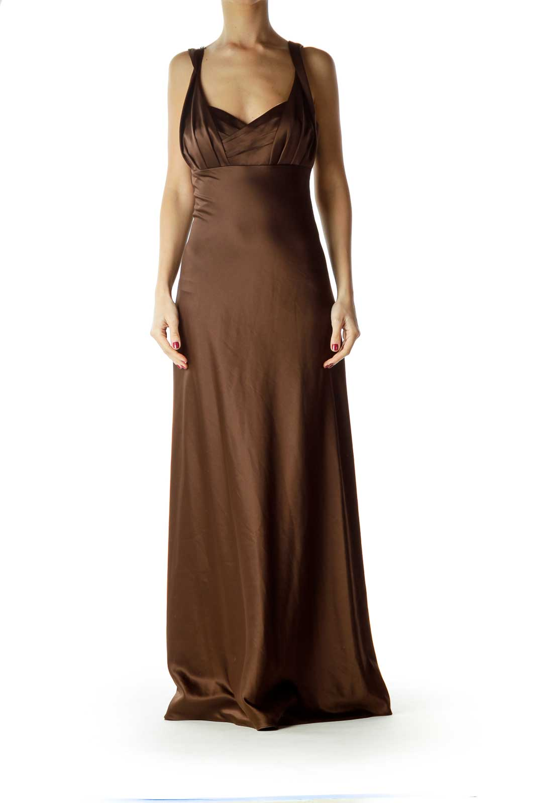 Brown Empire Waist Evening Dress