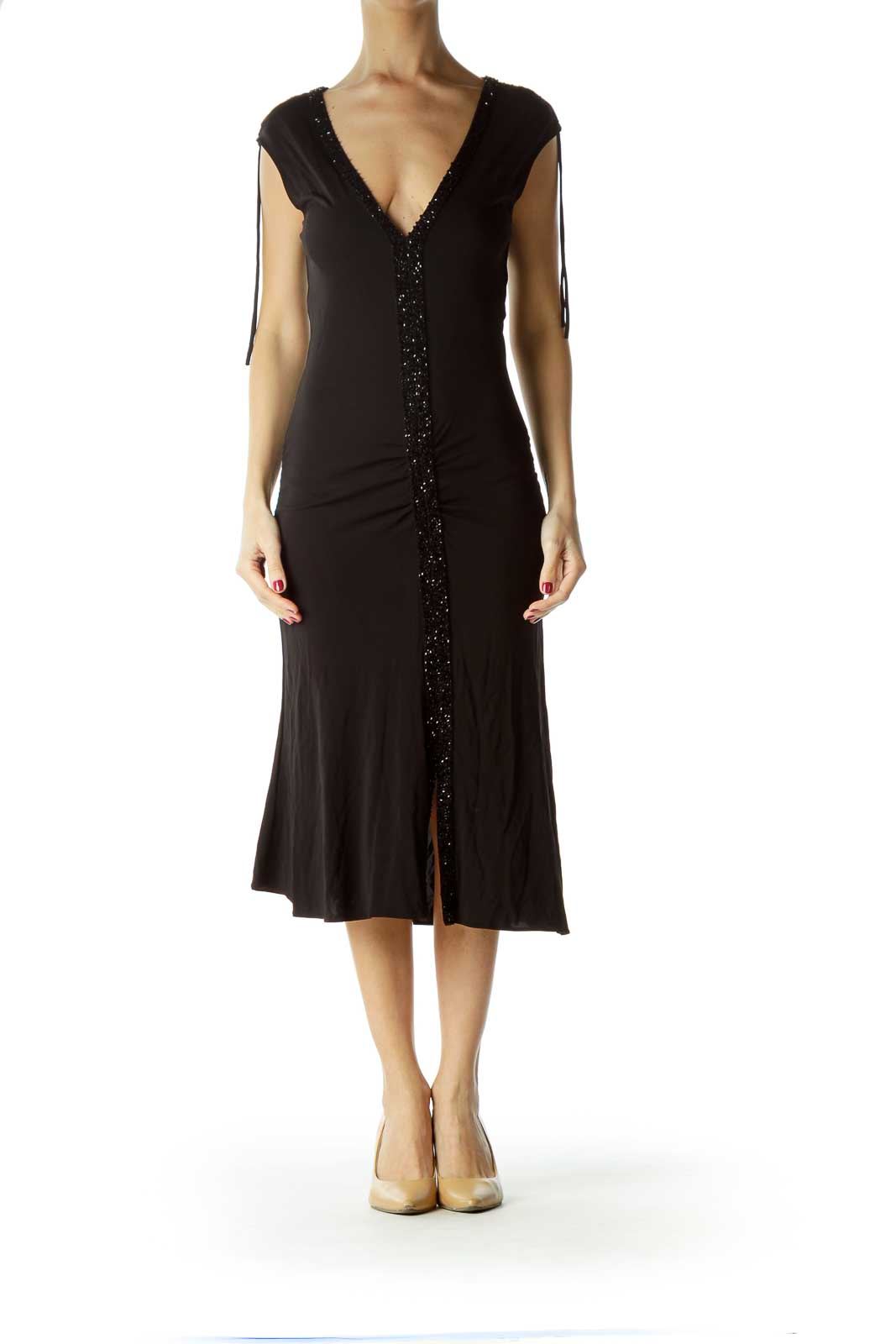 Black Beaded Midi Cocktail Dress