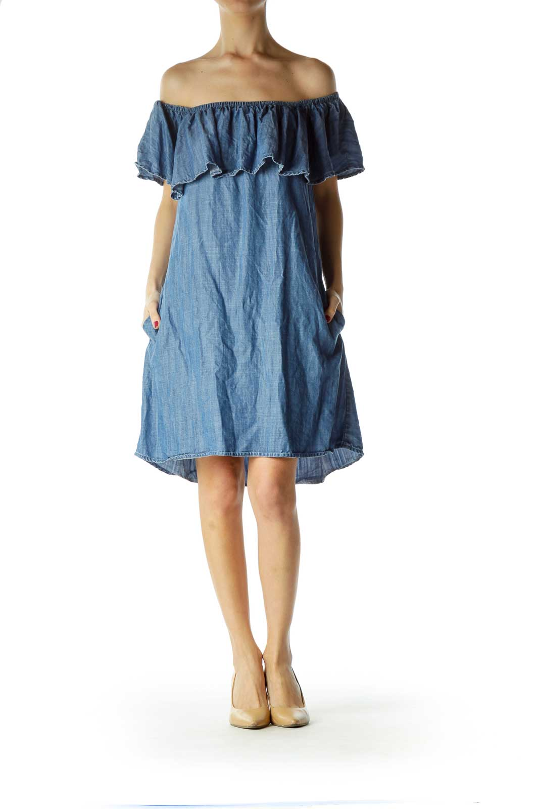 Blue Denim Off-Shoulder Dress