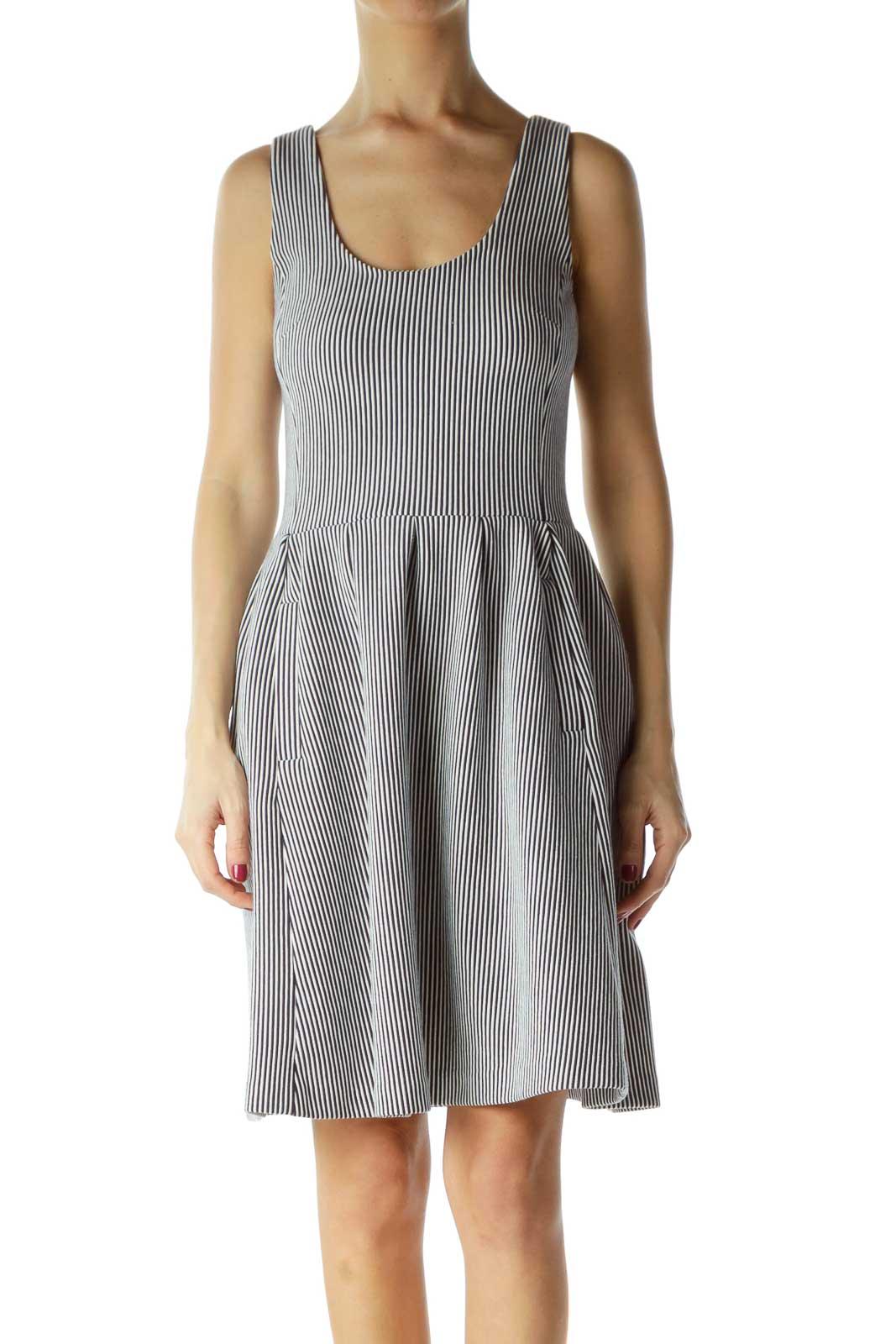 Navy White Stripe Knit A-Line Dress