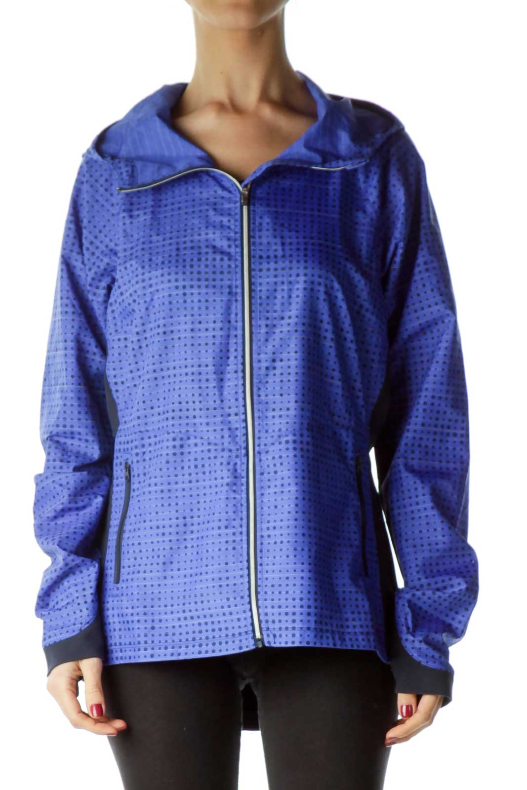 Blue Printed Hooded Active Jacket