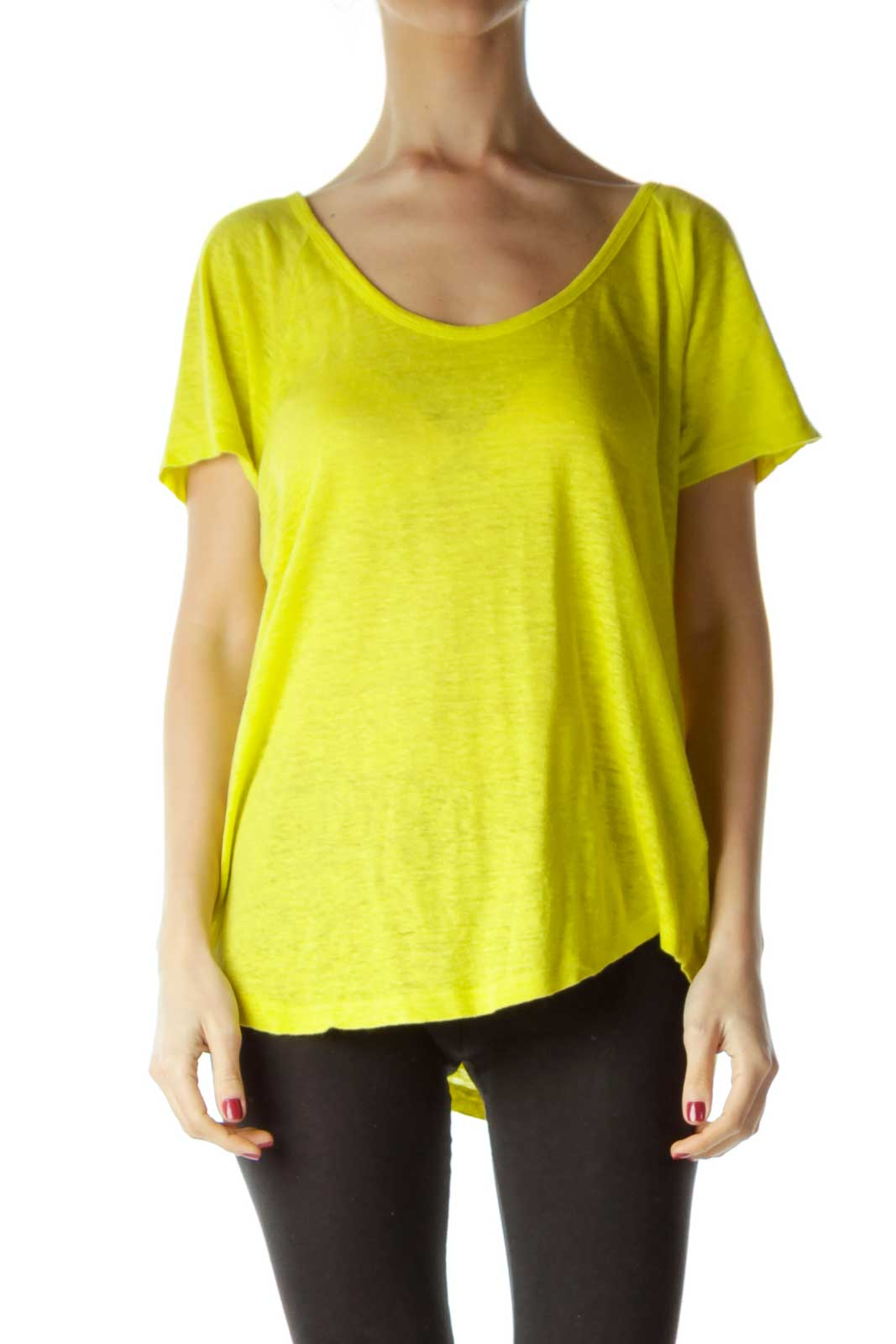 Yellow Linen Knit Top