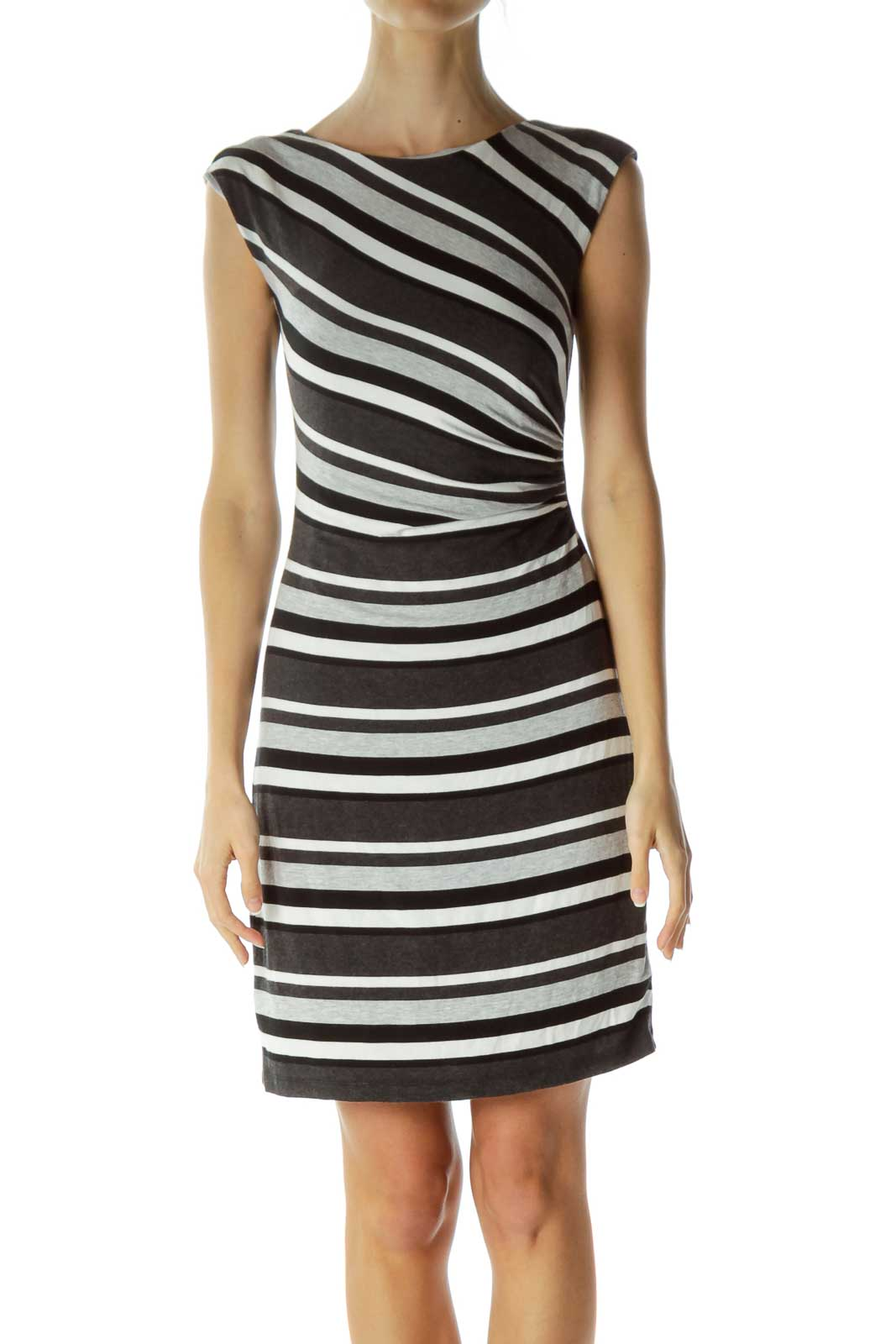 Gray Black Striped Boat Neck Jersey Dress