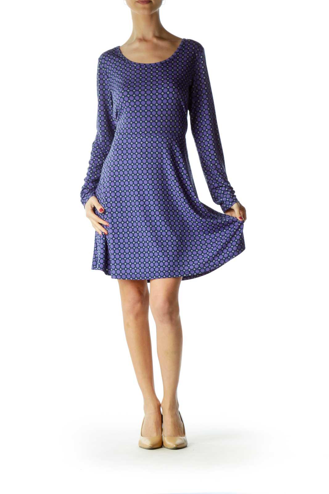 Purple Printed Skater Dress