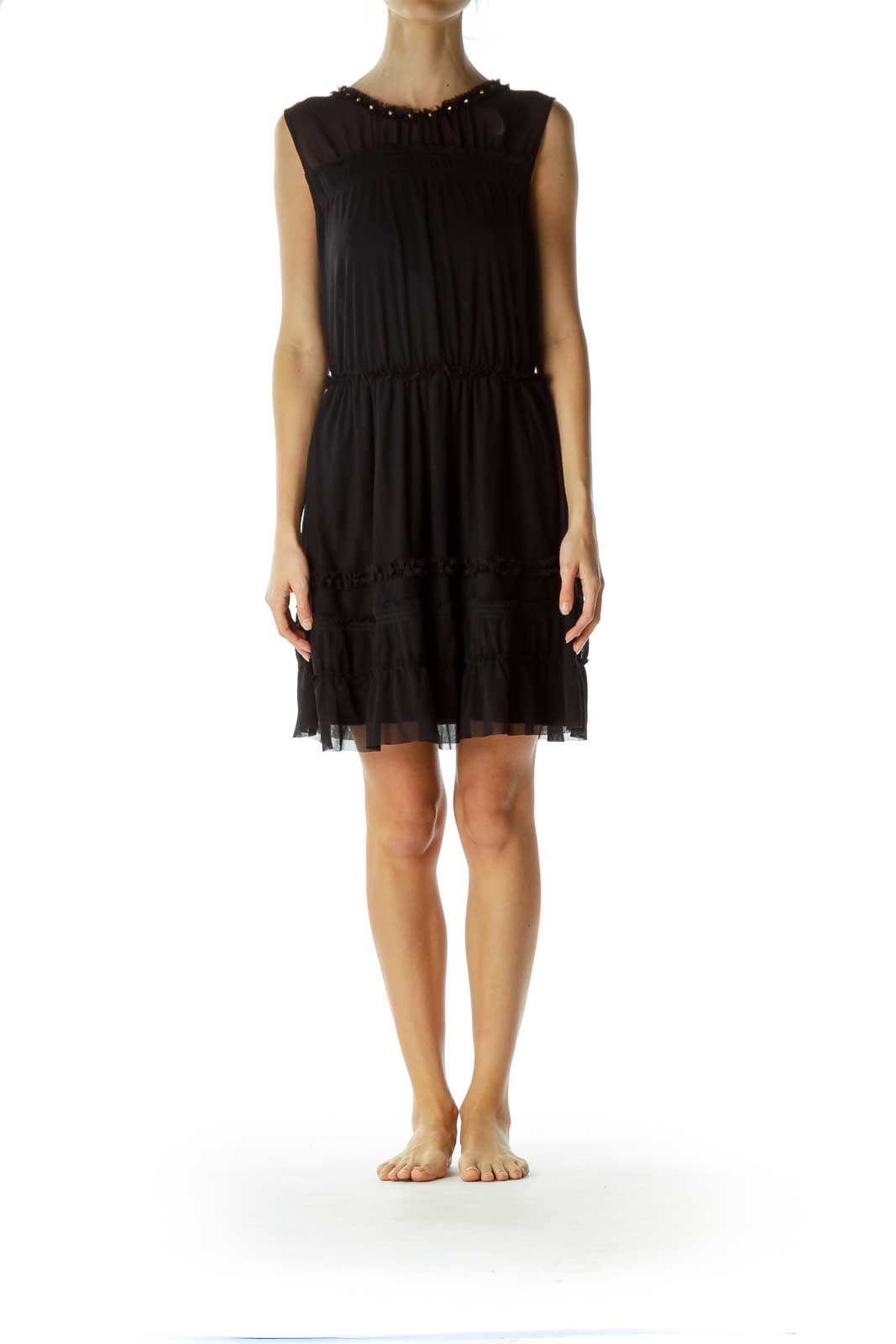 Black Ruffled Mesh Dress