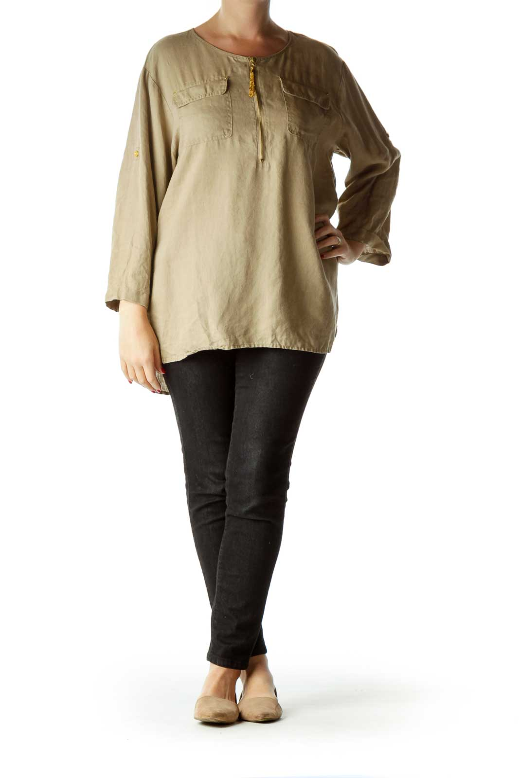 Brown Linen Zippered Top