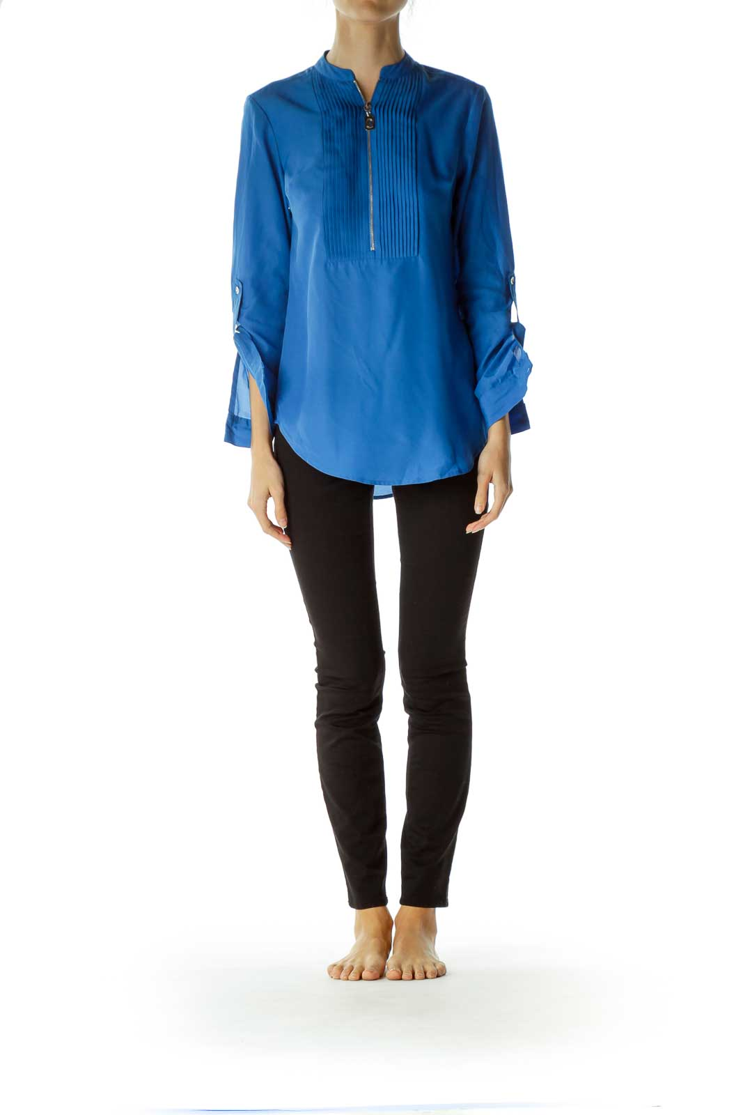 Blue Zippered Blouse