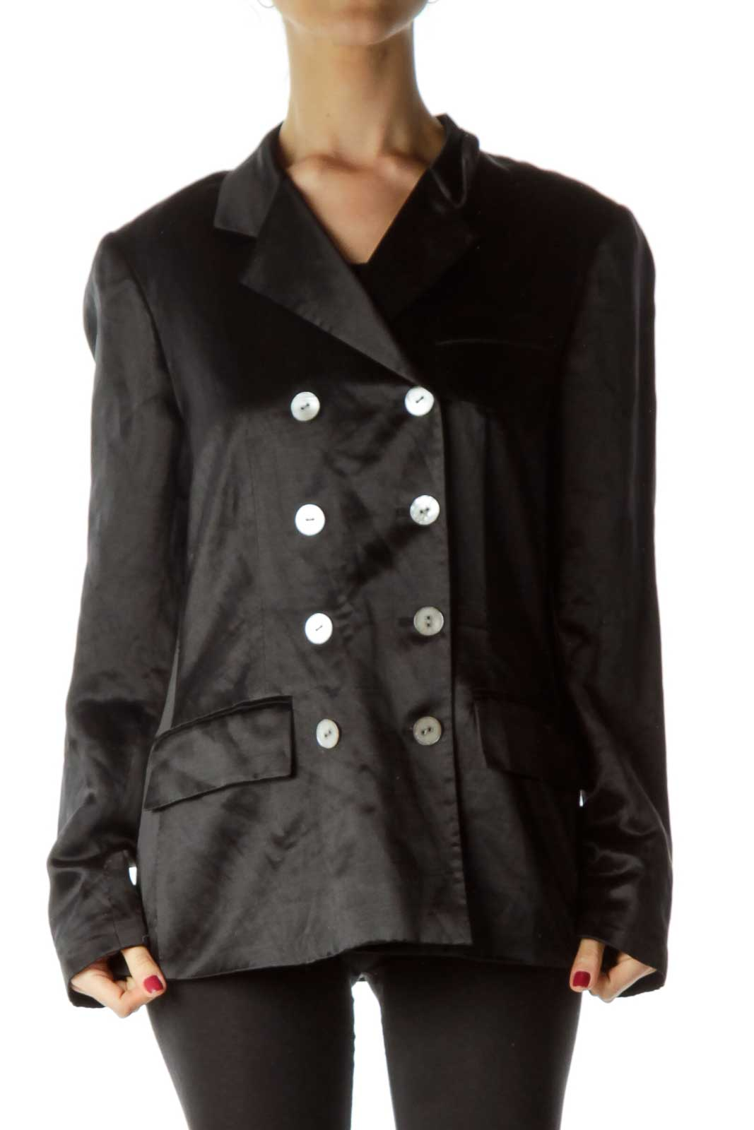Black Linen & Silk Double Breasted Jacket