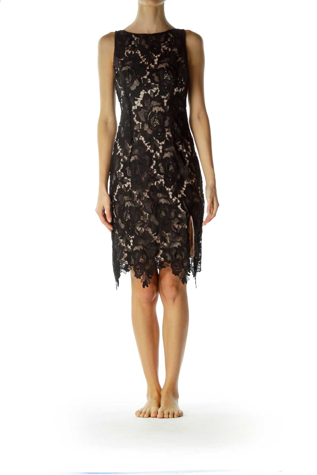 Black Lace Midi Bodycon Dress
