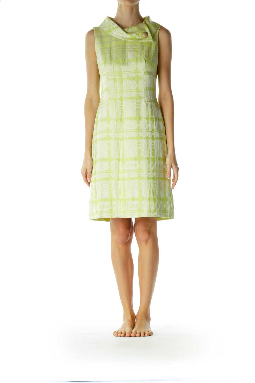 Green Cream High Neck Shiny Work Dress