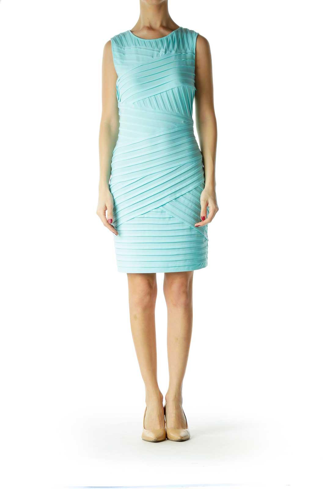 Blue Sleeveless Cocktail Dress