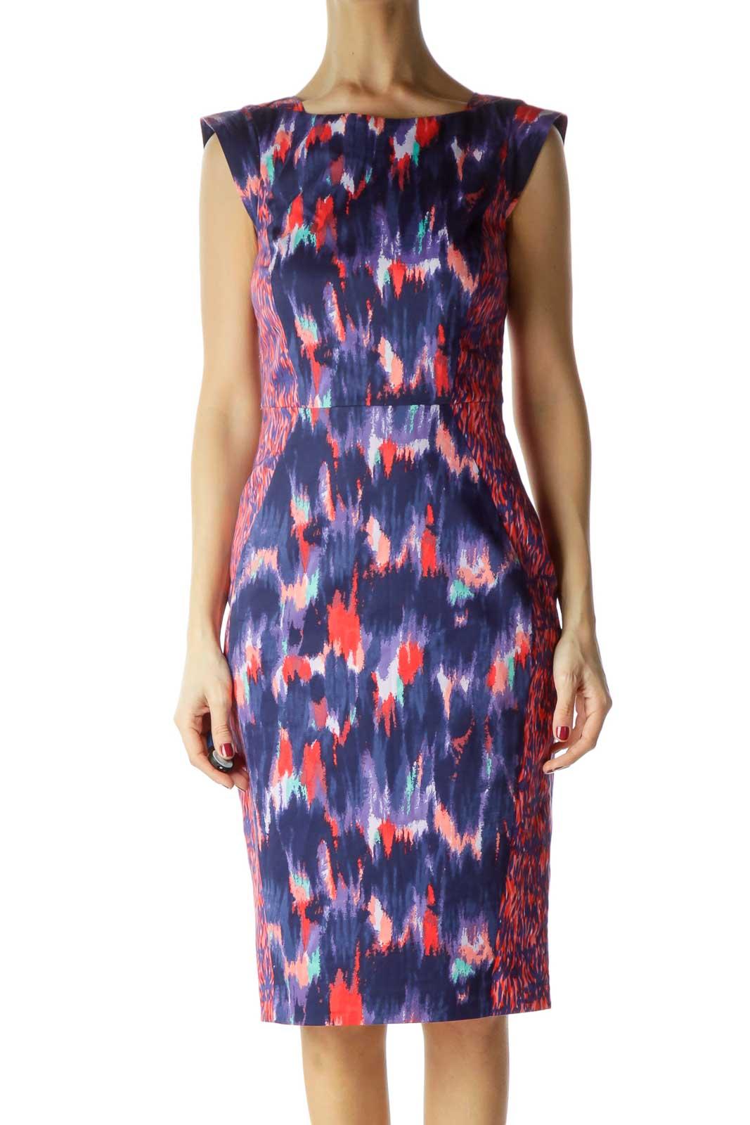 Multicolor Print Cap Sleeves Work Dress