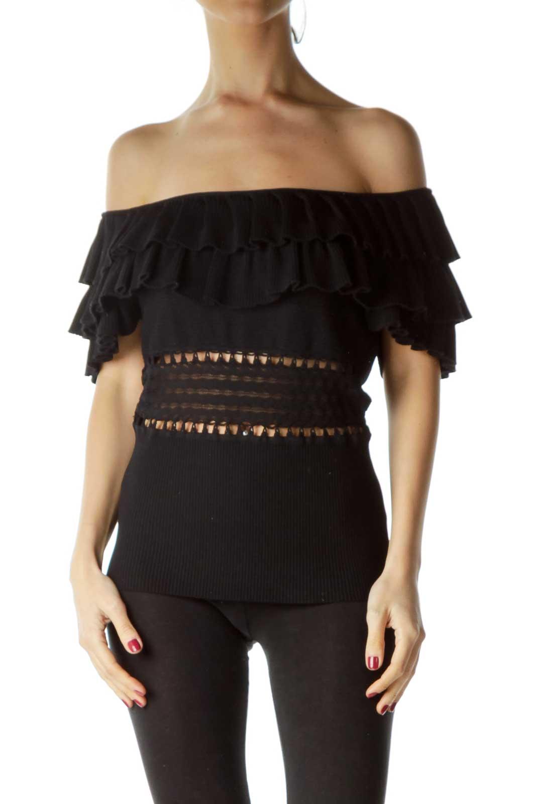 Black Ruffled Knit Top