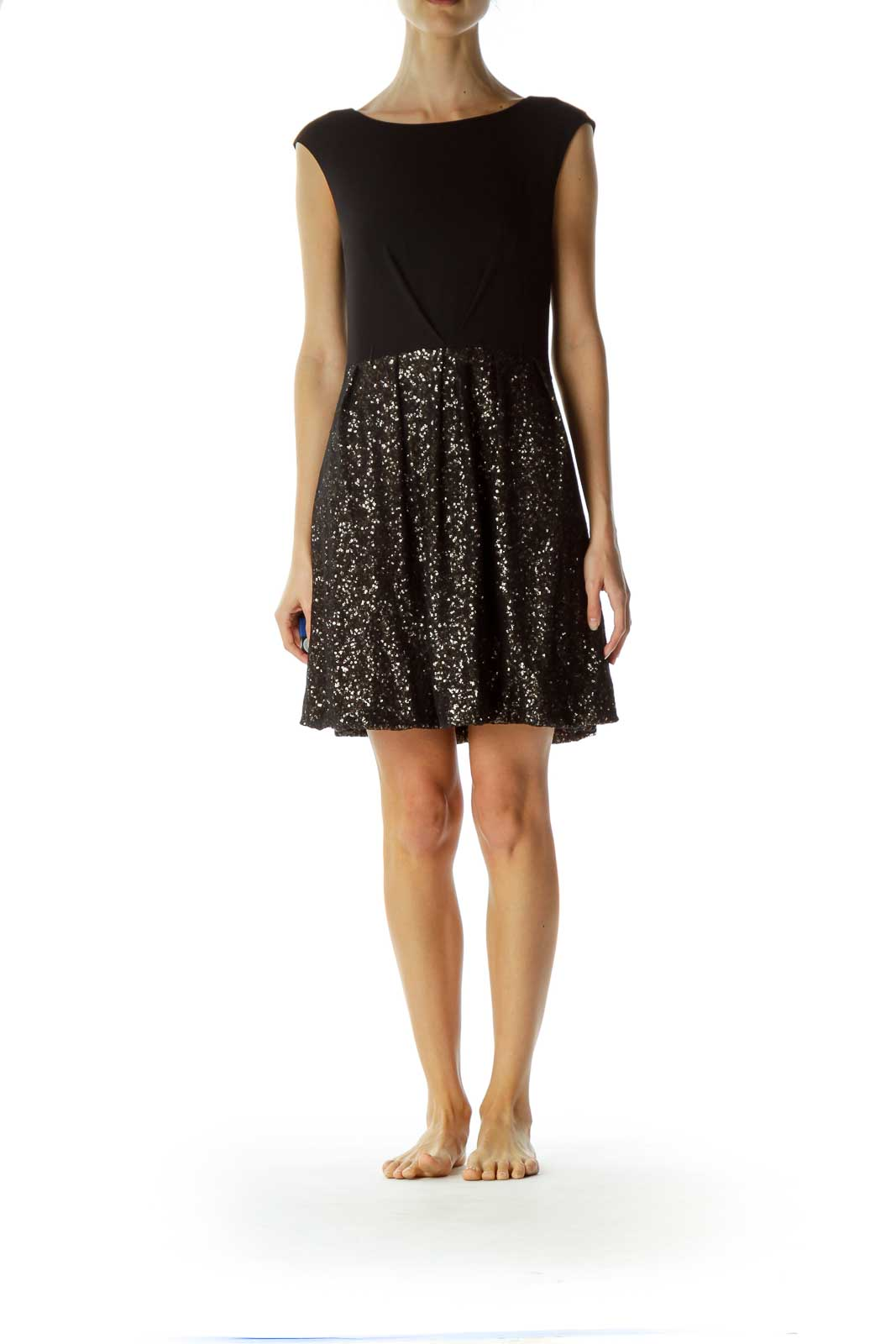 Black Gold Sequined Cocktail Dress