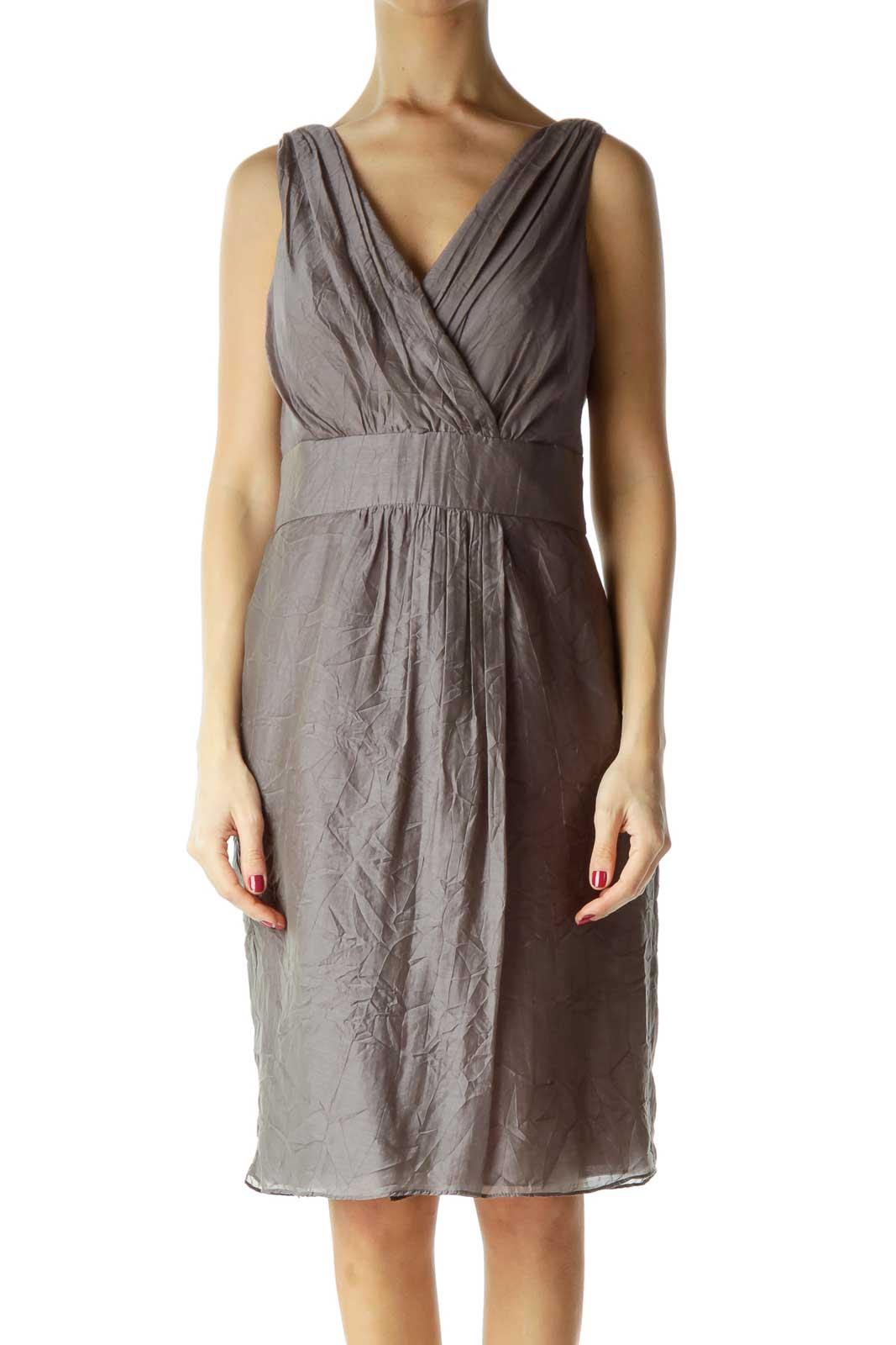 Gray V-Neck Sleeveless Work Dress