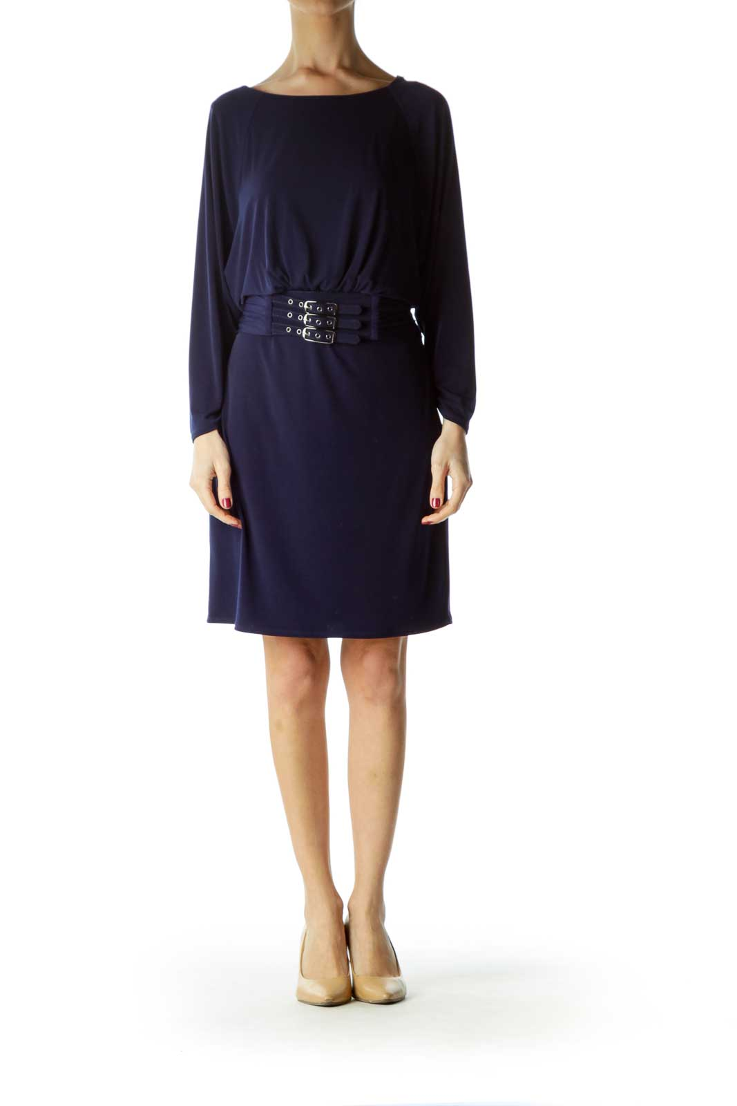 Blue Belted with Buckles Work Dress