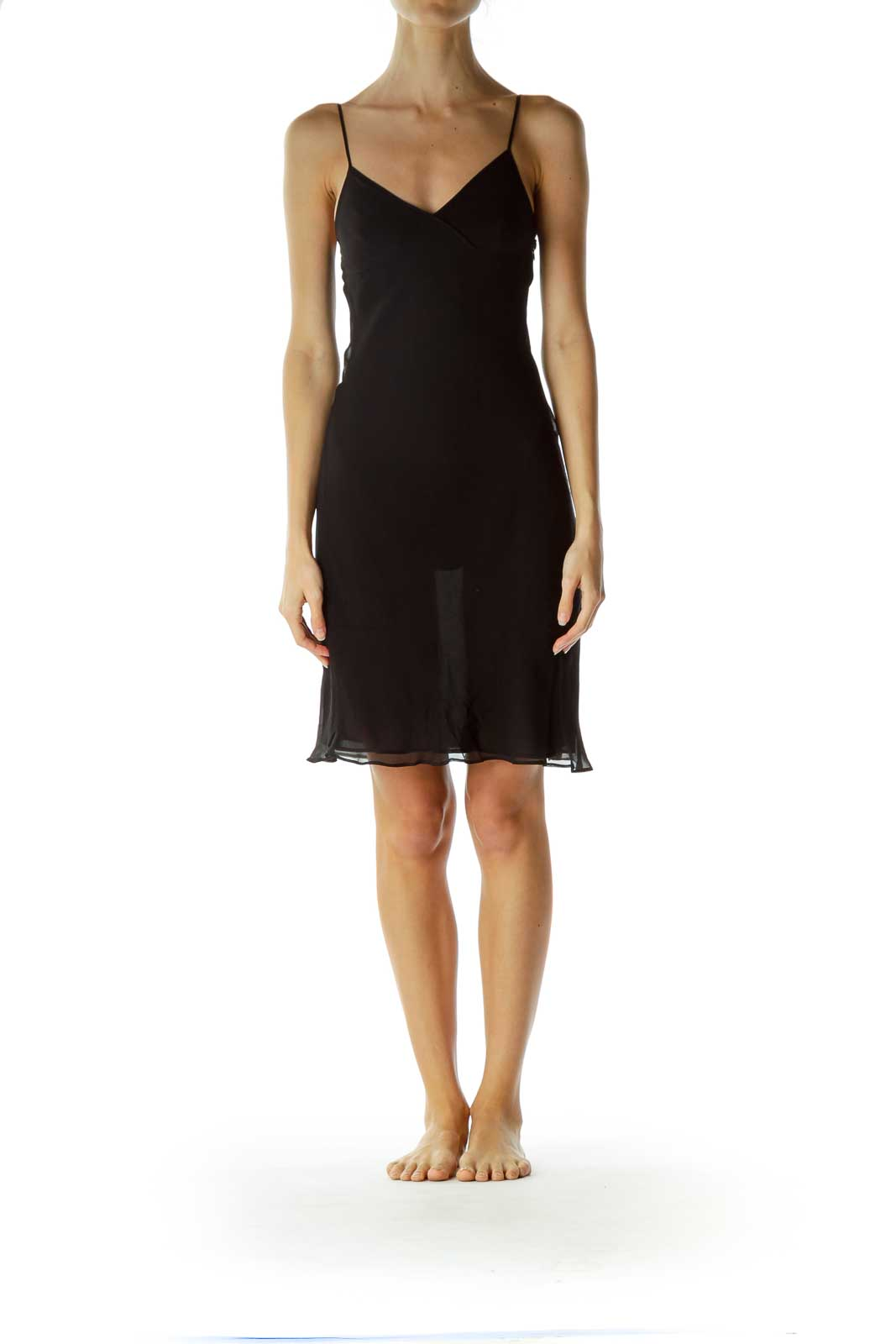Black Silk Slip Cocktail Dress