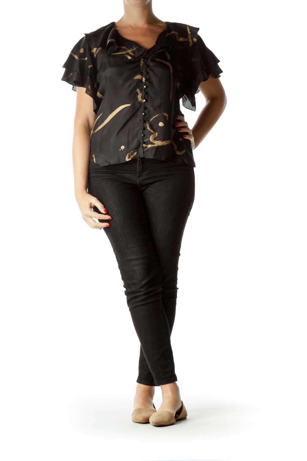 Black Printed Ruffled Silk Top
