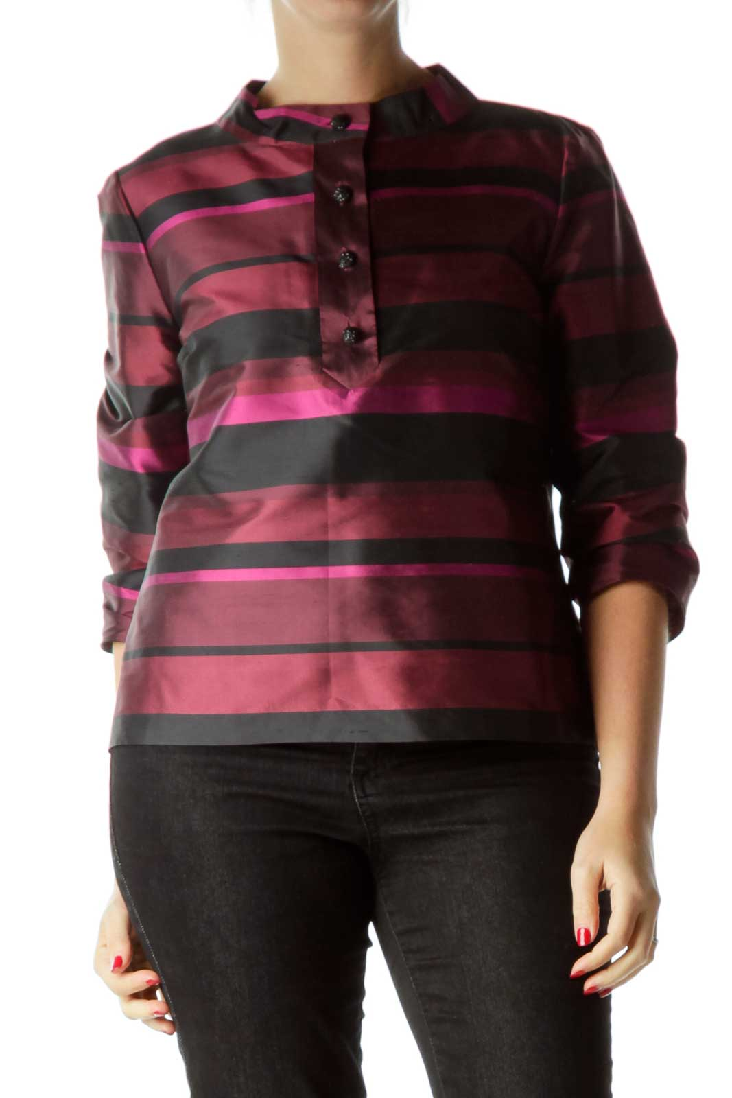 Red Striped Silk Top