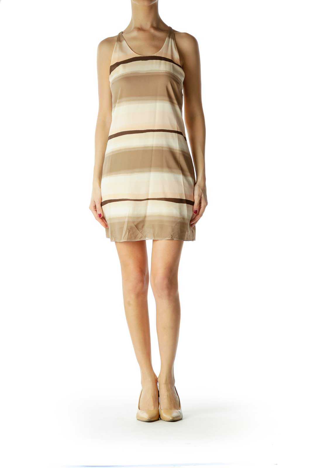 Brown Pink Striped Racerback Dress