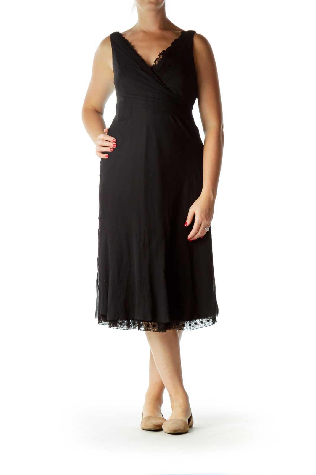 Black V-Neck Silk Lace A-Line Cocktail Dress