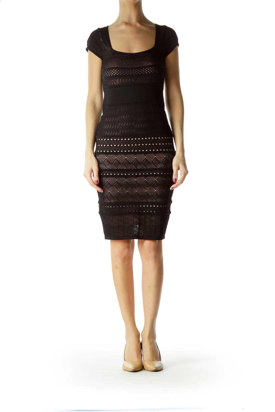Black Cap Sleeve Knit Dress