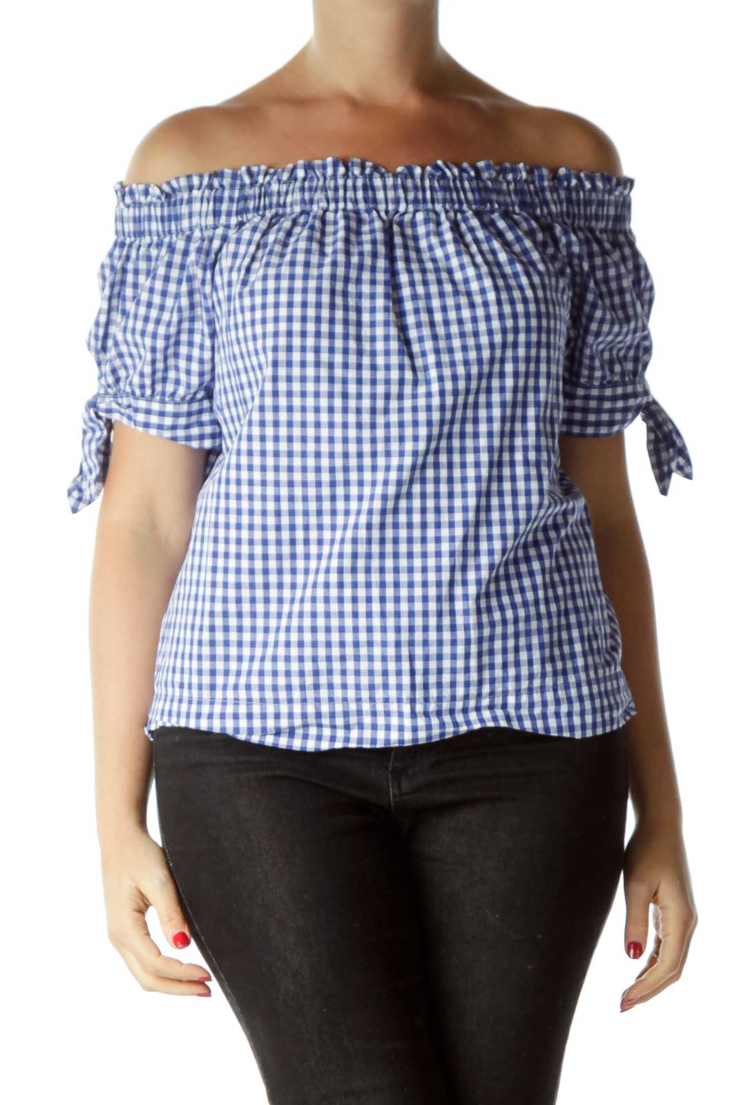 Blue White Off-Shoulder Checkered Top