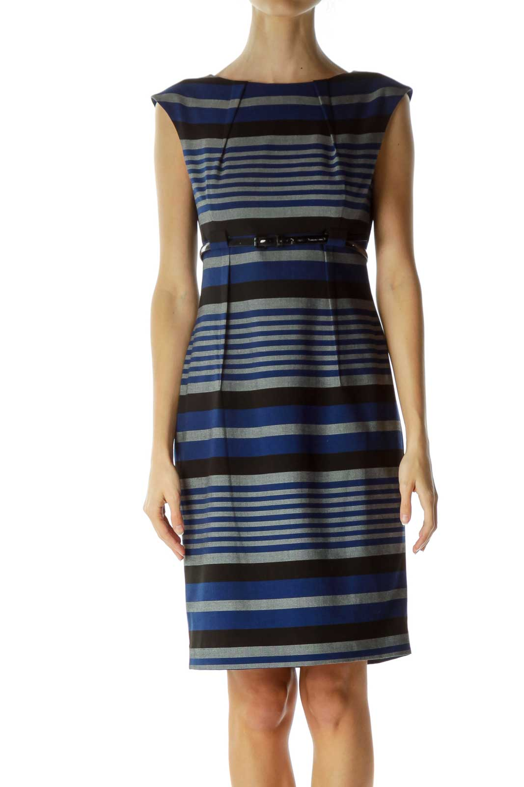 Multicolor Pleated Belted Work Dress