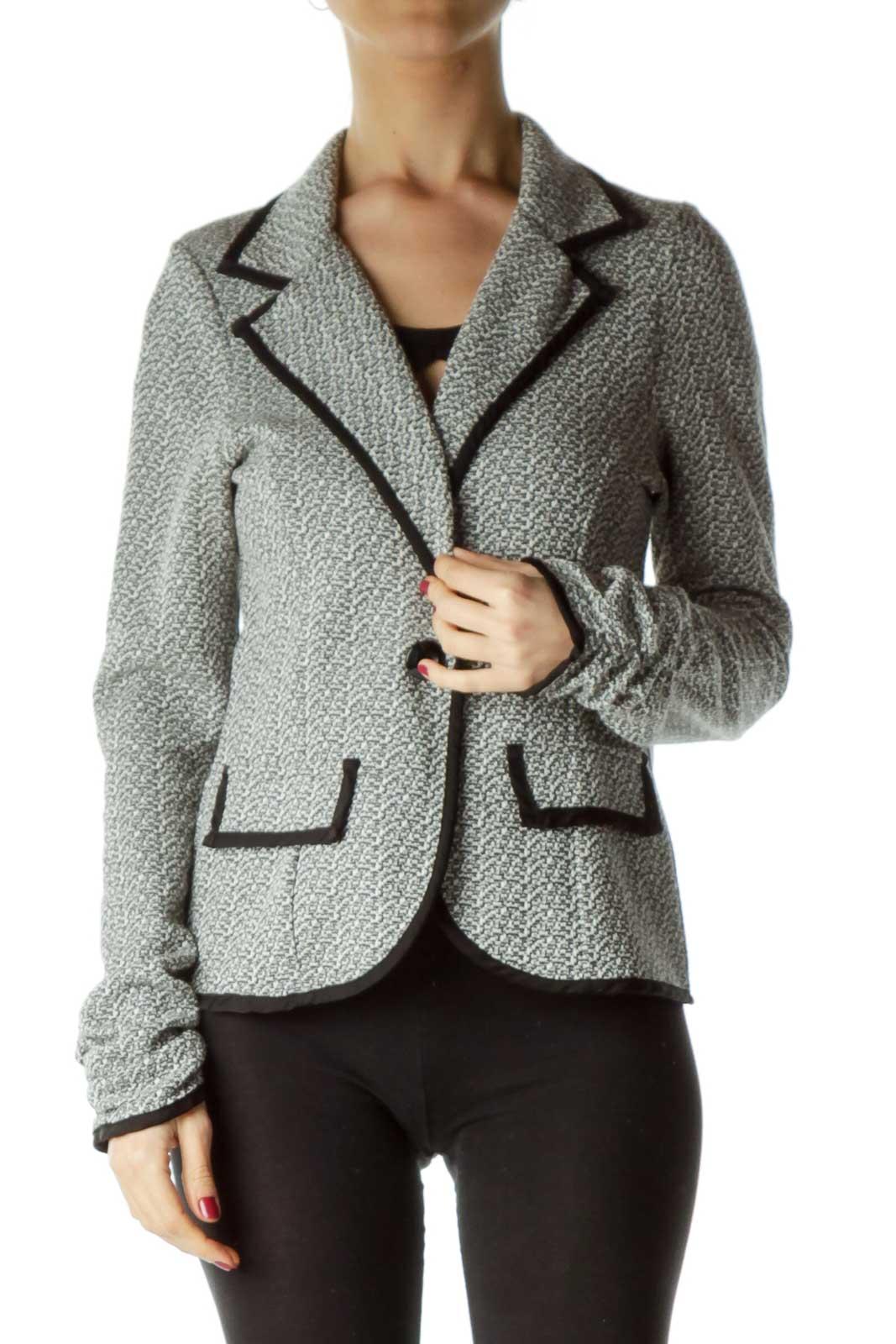 Black White Mottled Knit Jacket