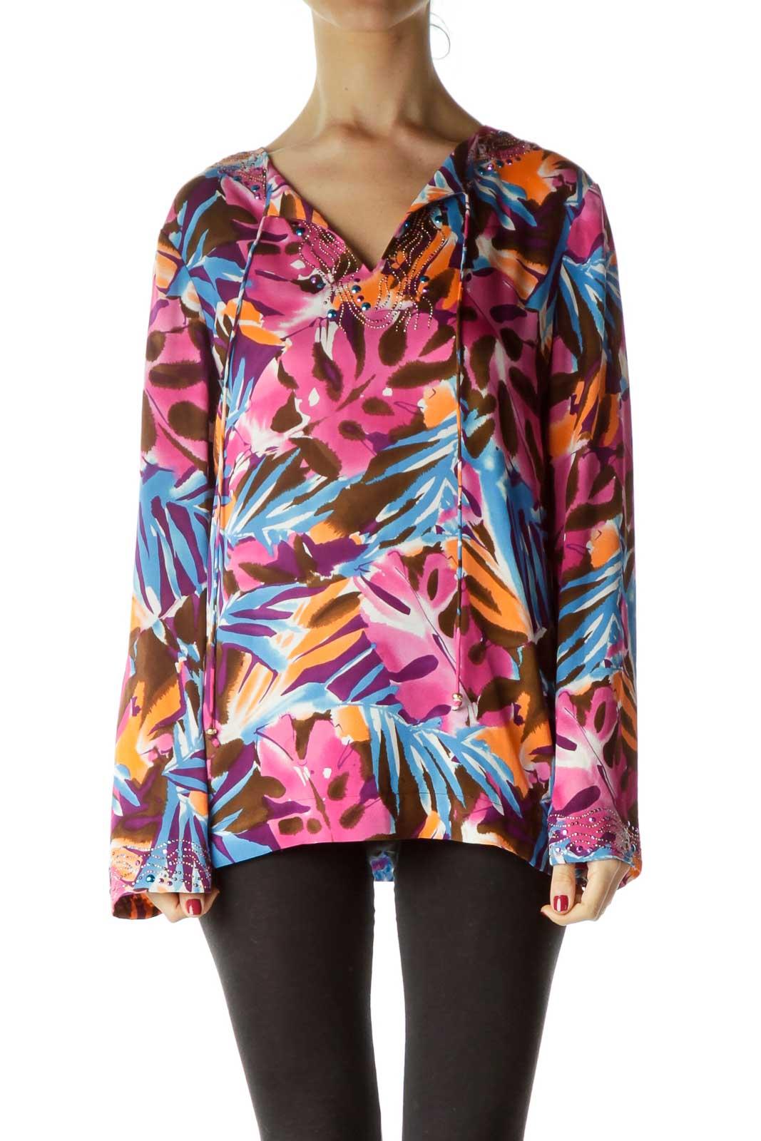 Multicolor Studded Silk Blouse