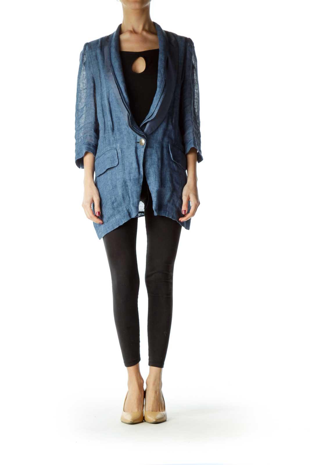 Blue Linen Silk Collar Blazer