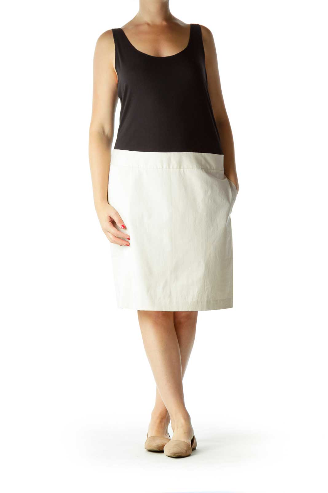 Black Cream Pocketed Day Dress
