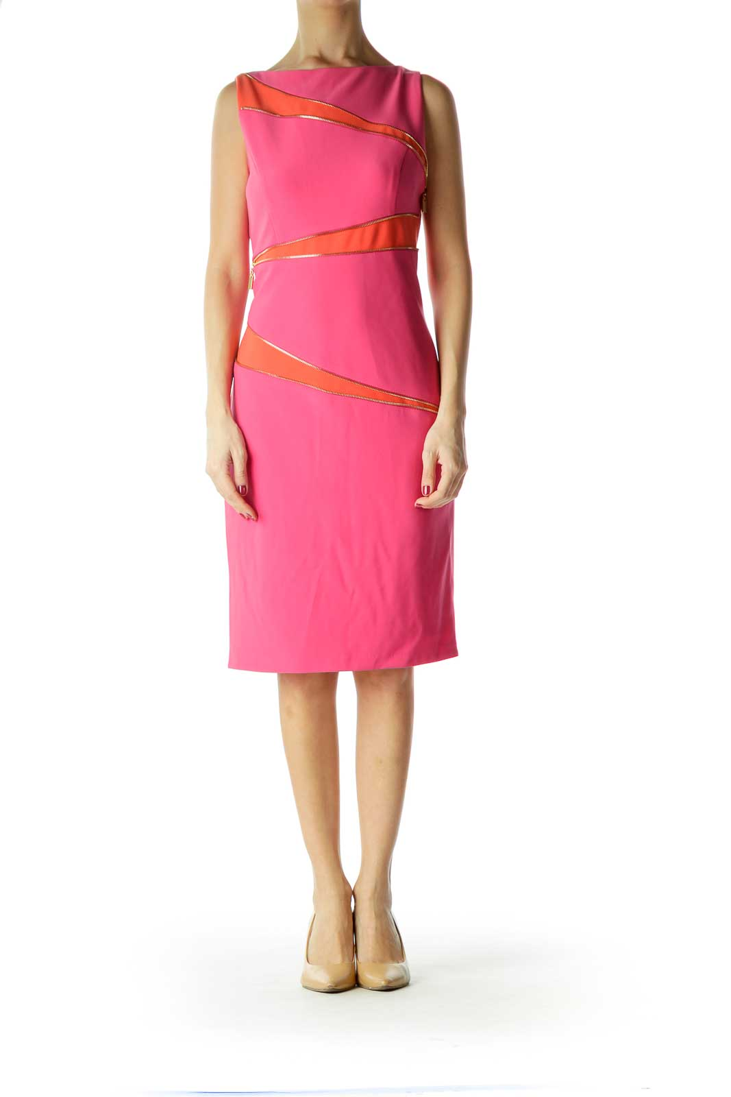 Pink Orange Work Dress with Diagonal Zippers