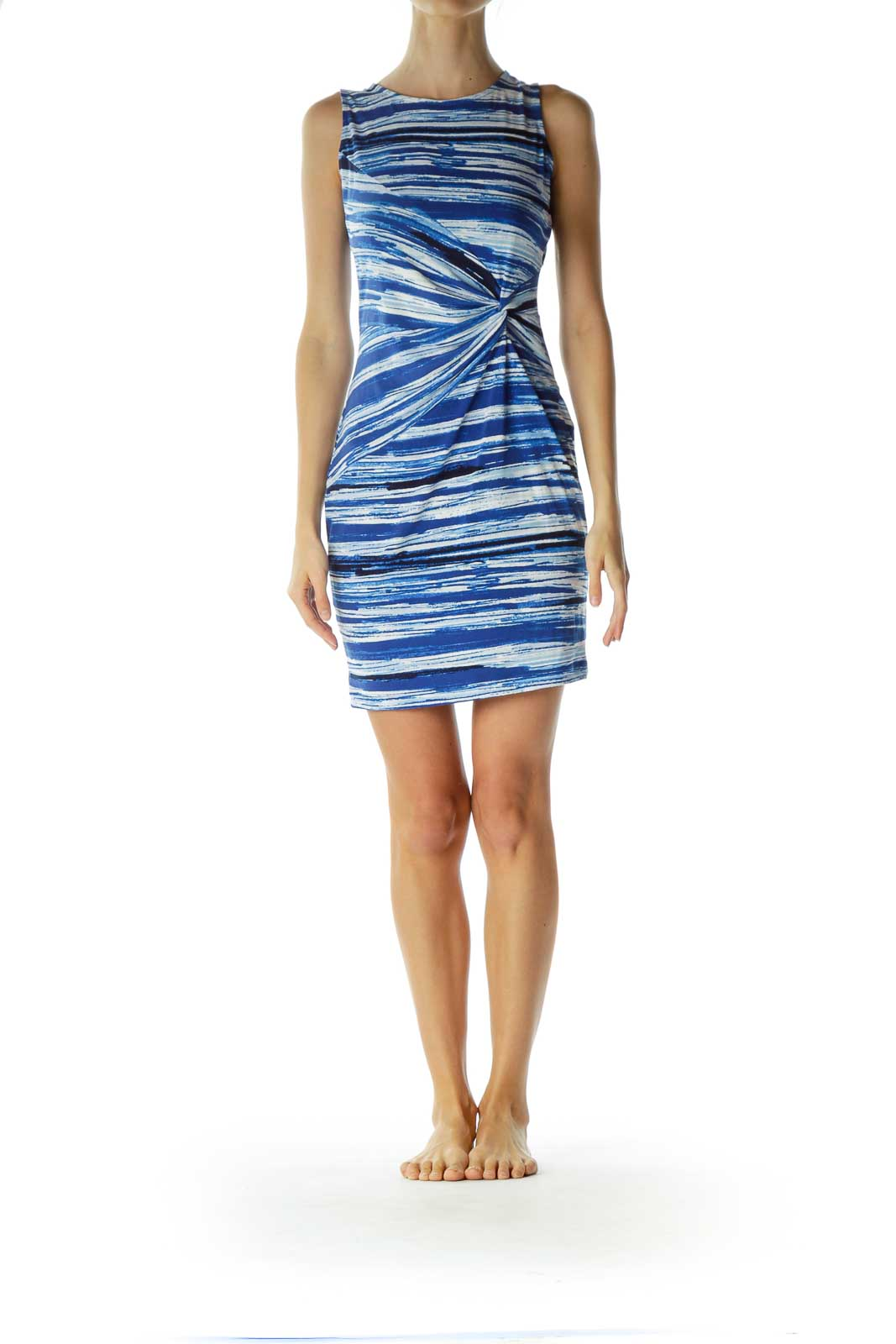 Blue White Print Front Knot Day Dress