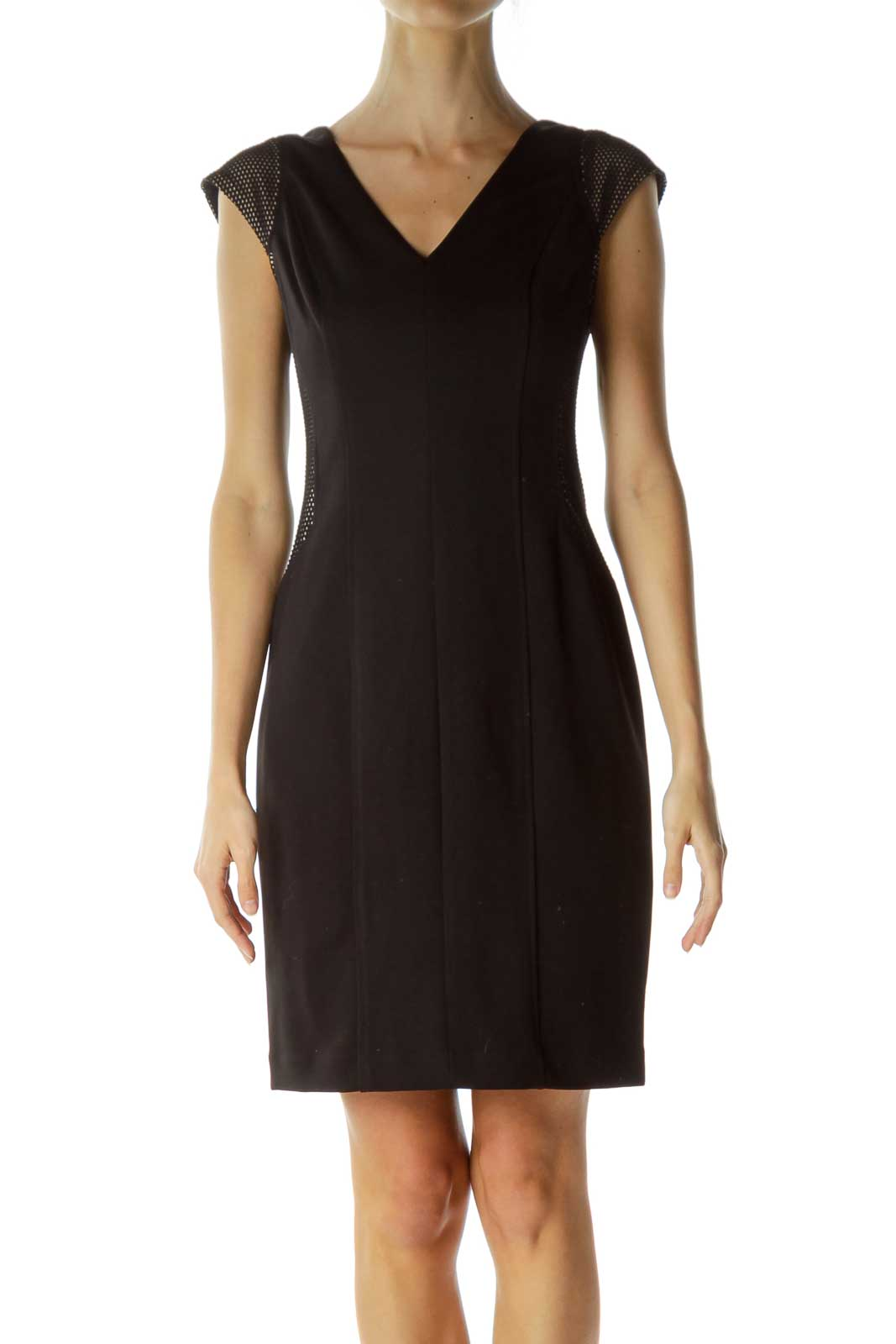 Black V-Neck Side Textured Work Dress