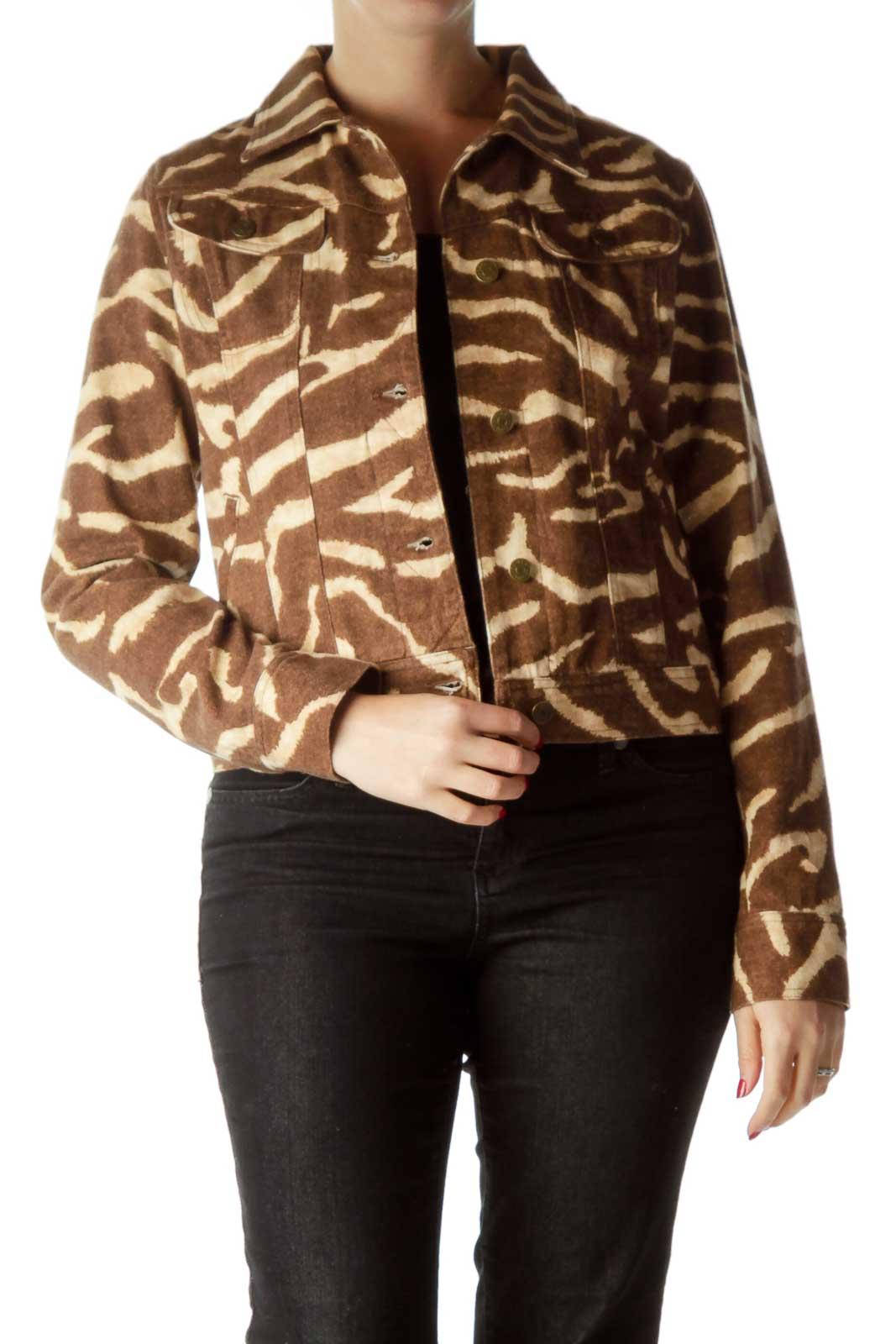 Brown Beige Zebra Print Denim Jacket