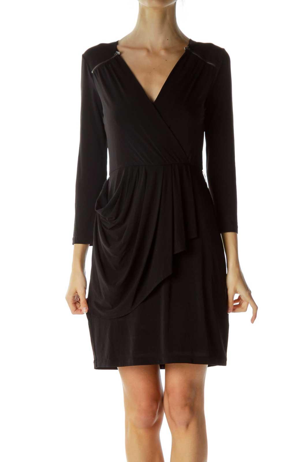 Black Shoulder Zippers Work Dress