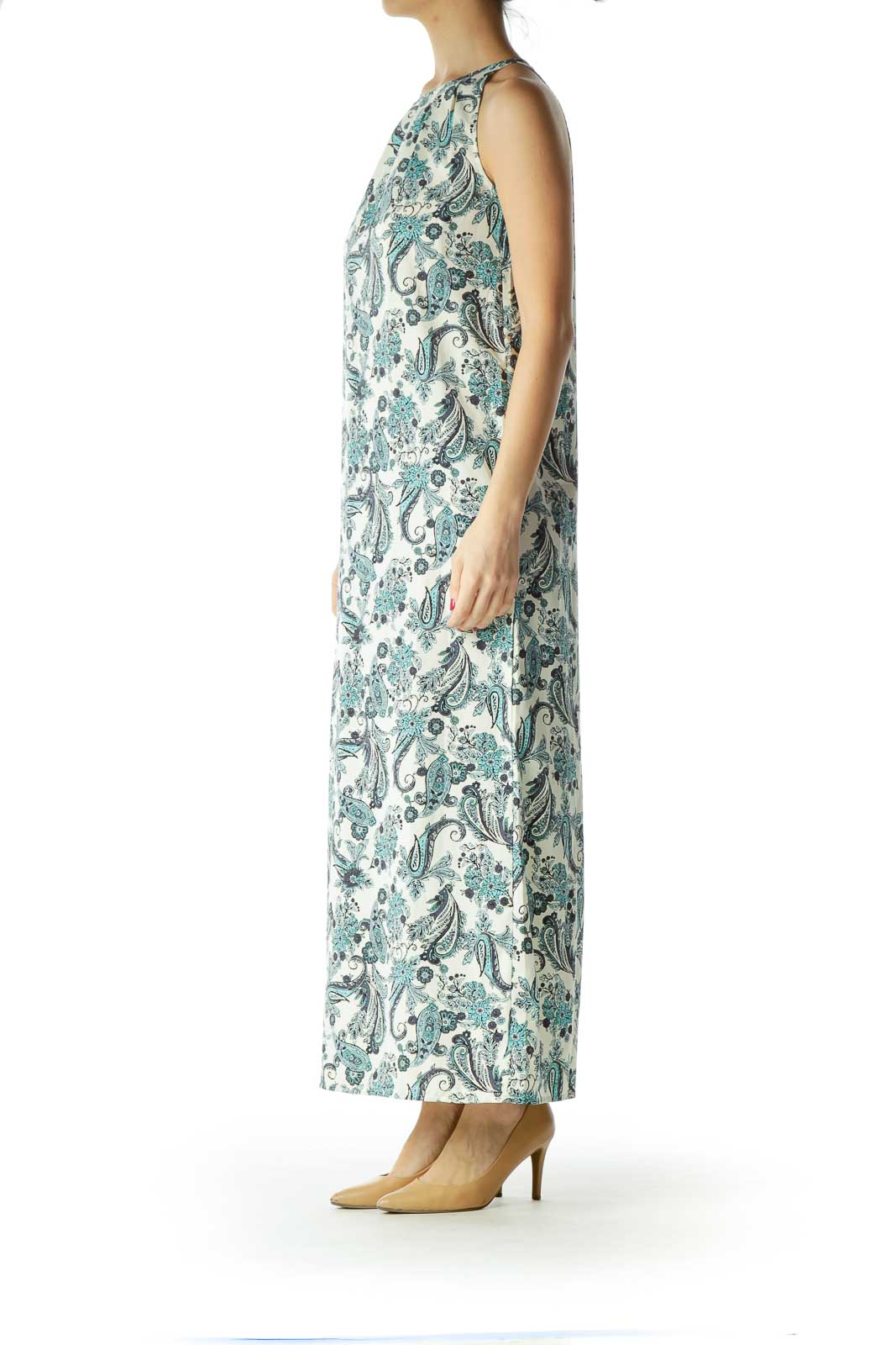 b169839ff8 Shop Blue Cream Print Maxi Dress clothing and handbags at SilkRoll ...