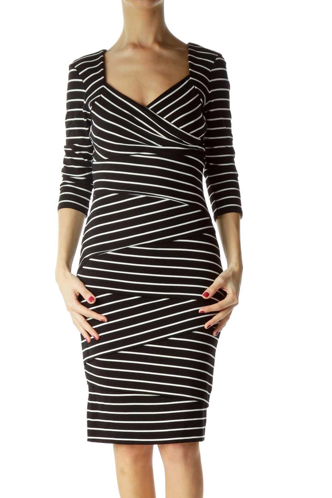 Black White Striped Long Sleeve Work Dress